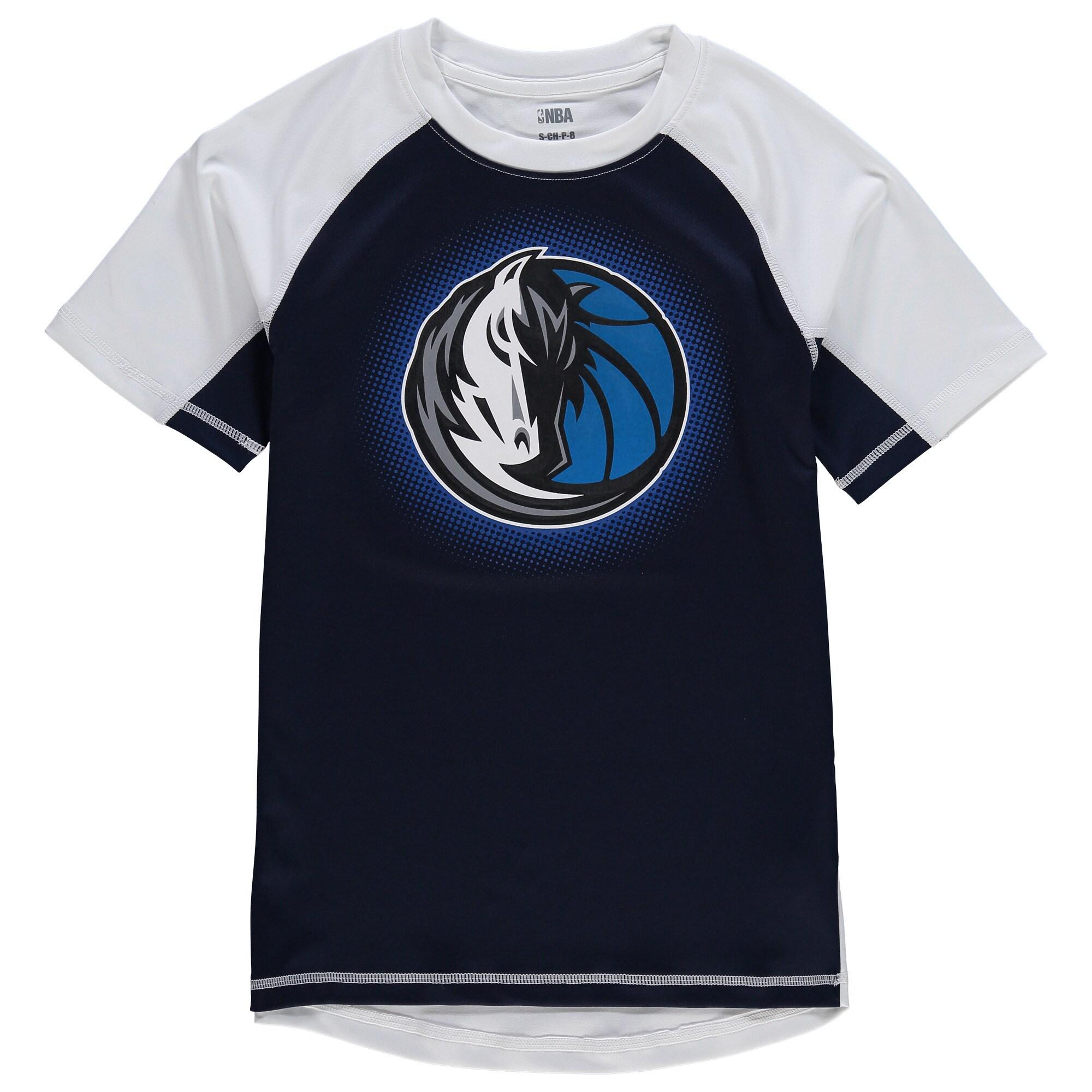 Dallas Mavericks Youth Color Block Rash Guard T-Shirt - Navy/White