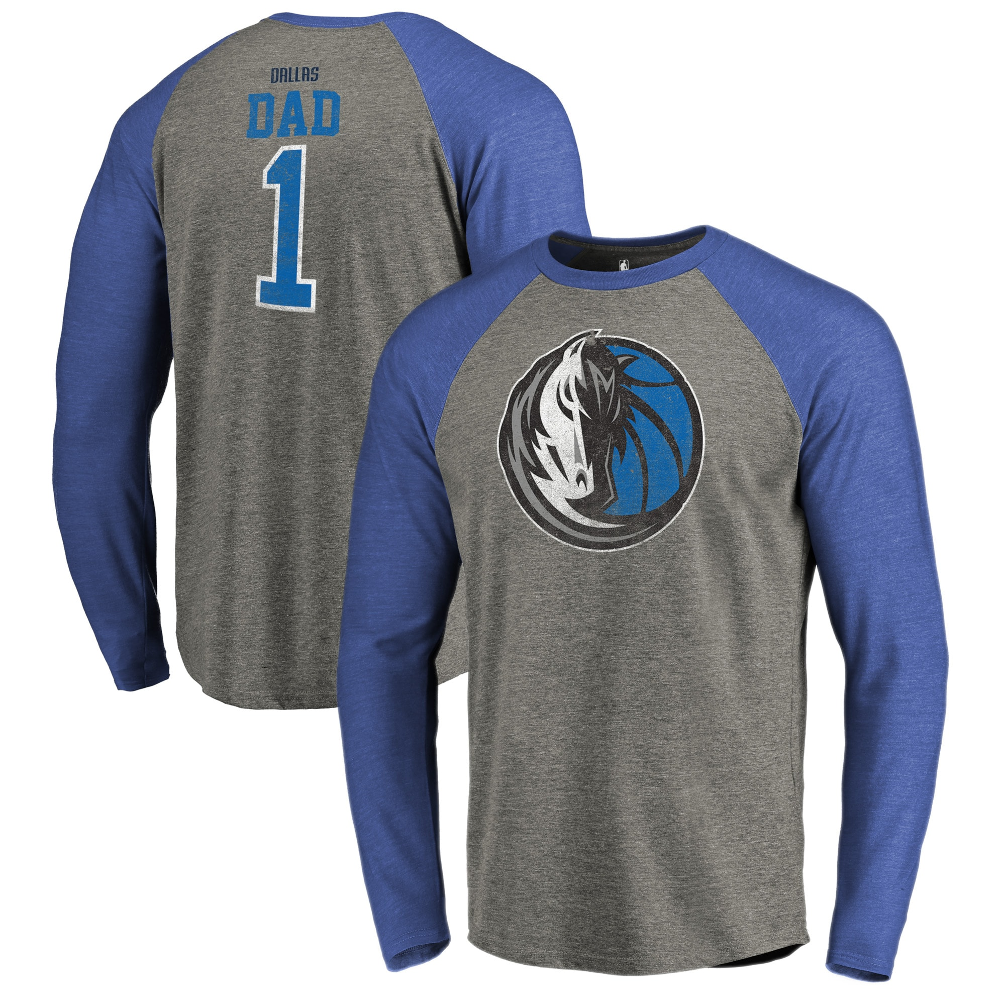 Dallas Mavericks Fanatics Branded Greatest Dad Long Sleeve Tri-Blend Raglan T-Shirt - Heathered Gray