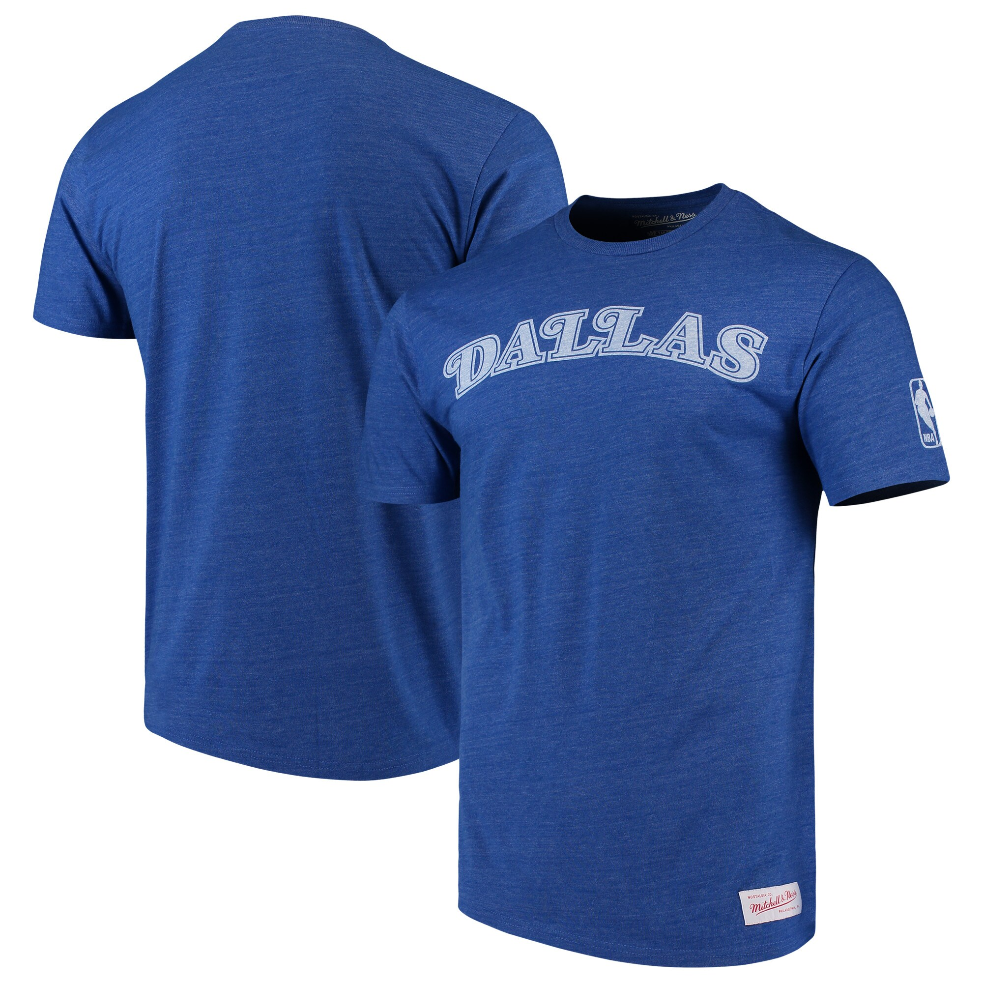 Dallas Mavericks Mitchell & Ness Hardwood Classics Throwback Logo Tri-Blend T-Shirt - Heathered Royal