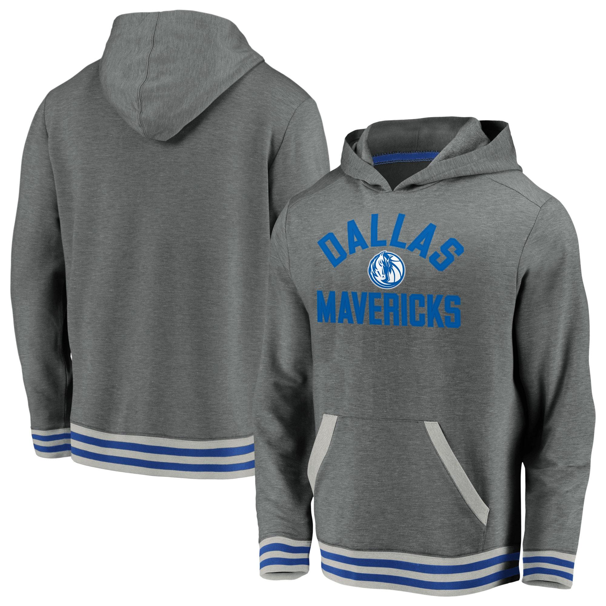 Dallas Mavericks Fanatics Branded True Classics Vintage Upperclassman Tri-Blend Pullover Hoodie - Gray