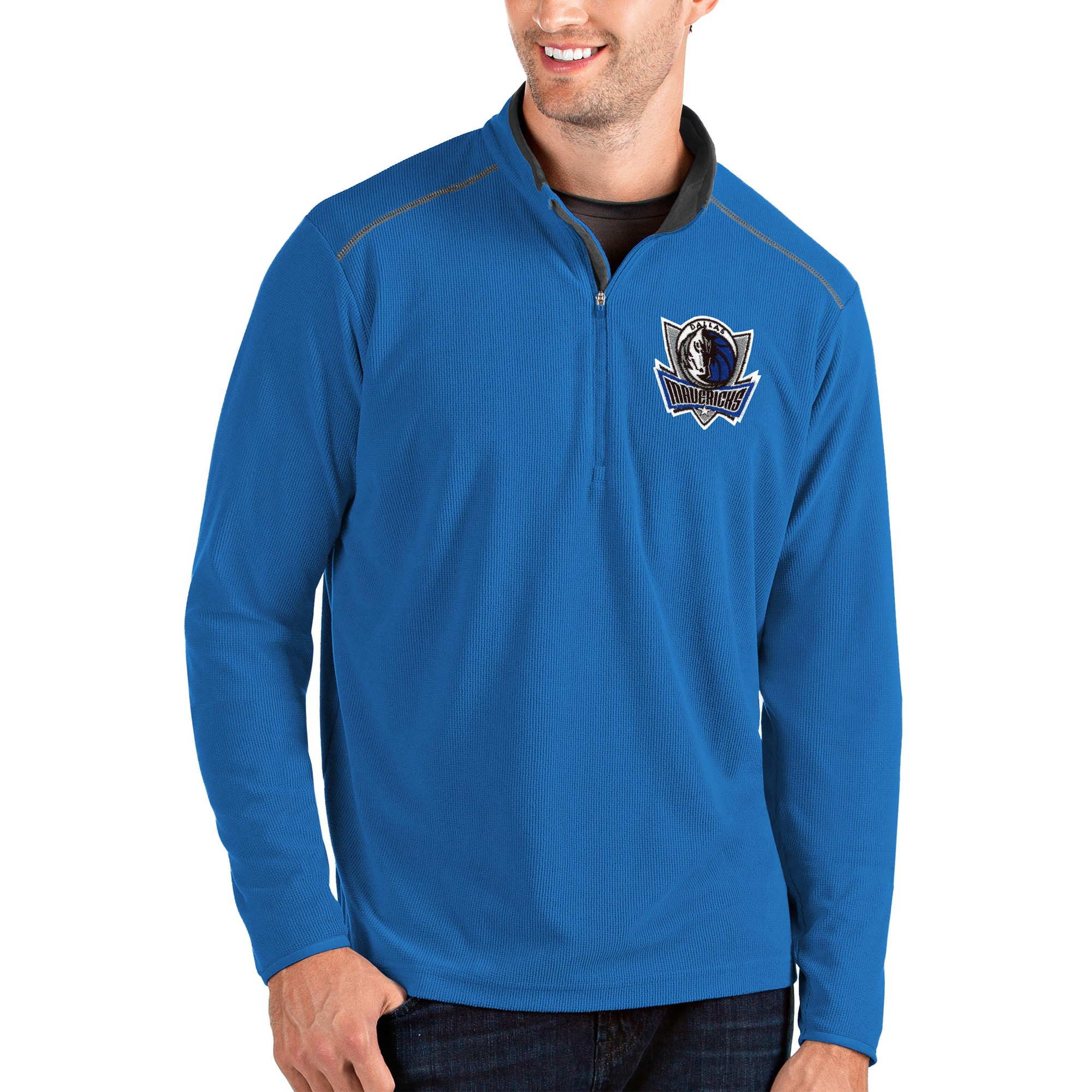 Dallas Mavericks Antigua Glacier Quarter-Zip Pullover Jacket - Blue/Gray