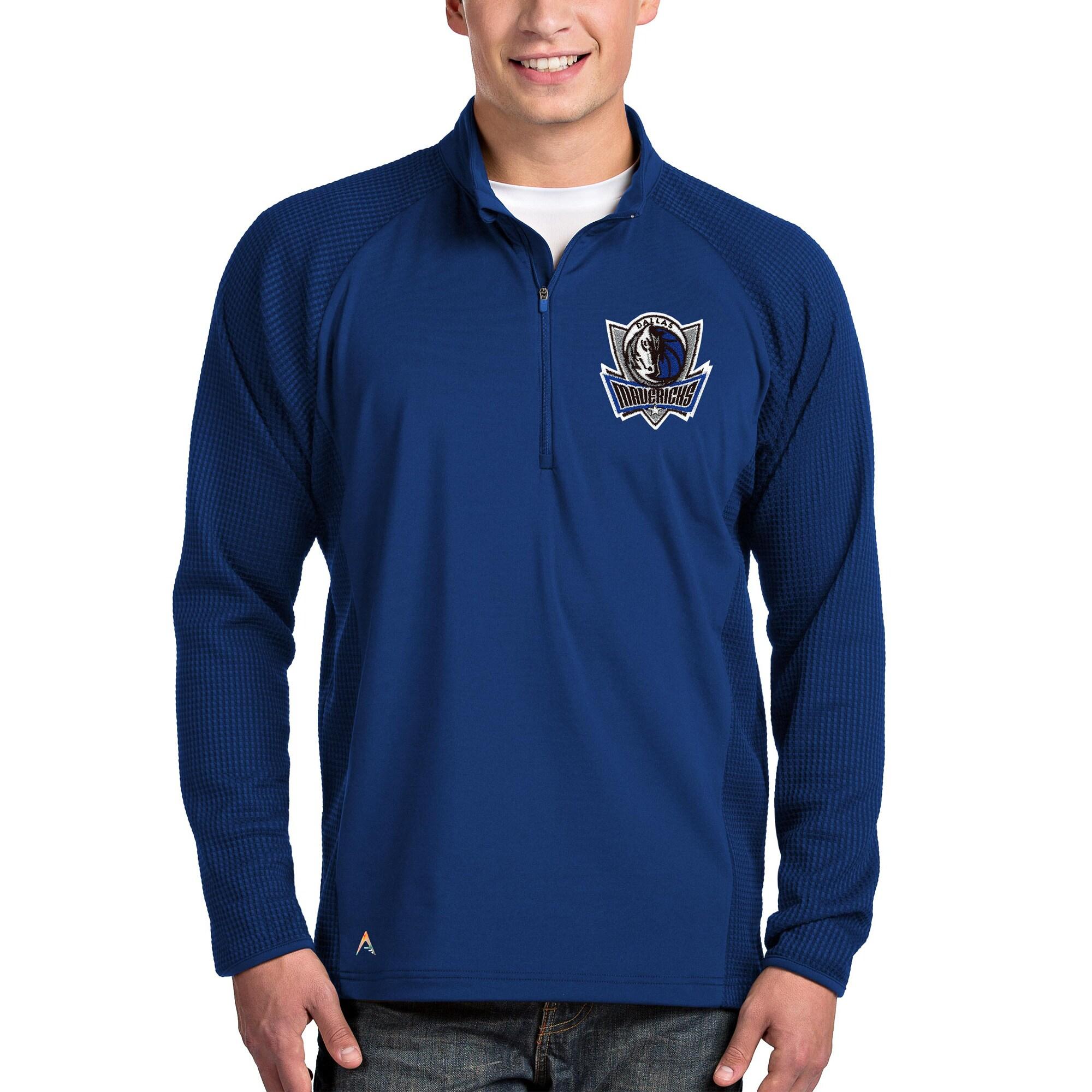 Dallas Mavericks Antigua Sonar Quarter-Zip Pullover Jacket - Royal