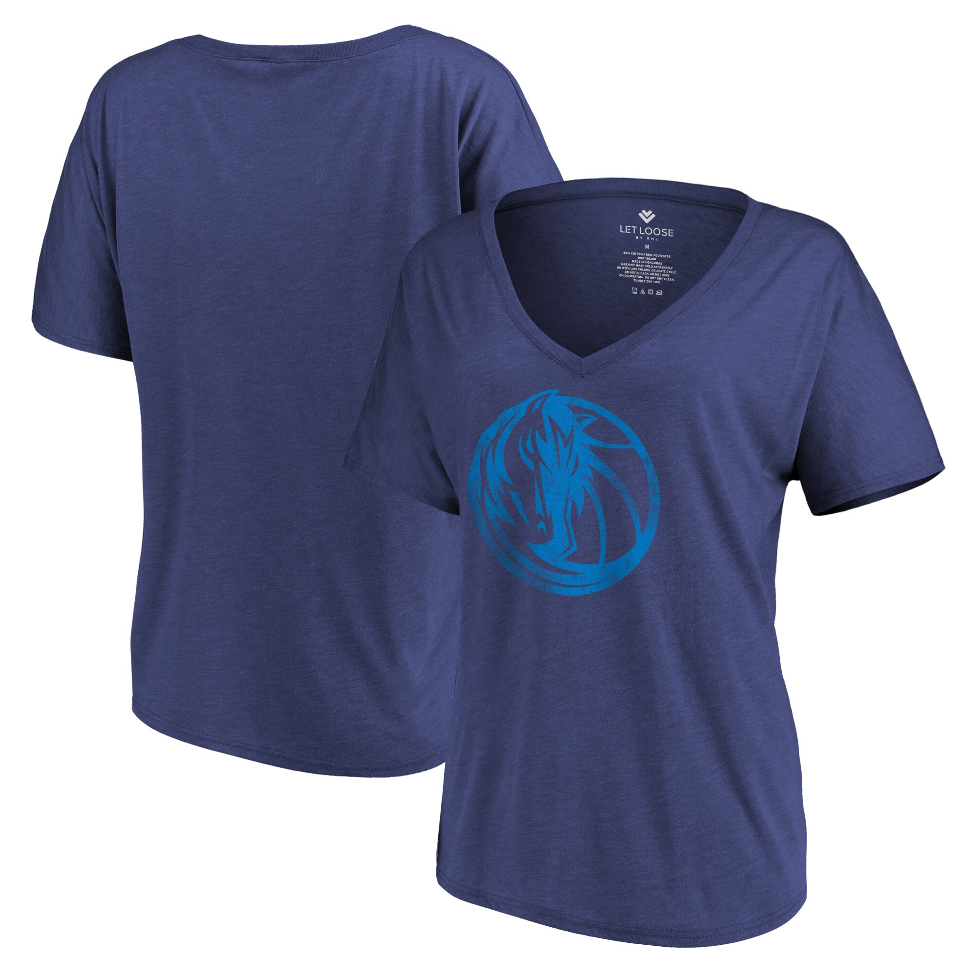 Dallas Mavericks Let Loose by RNL Women's Distressed Primary Logo V-Neck T-Shirt - Heathered Navy