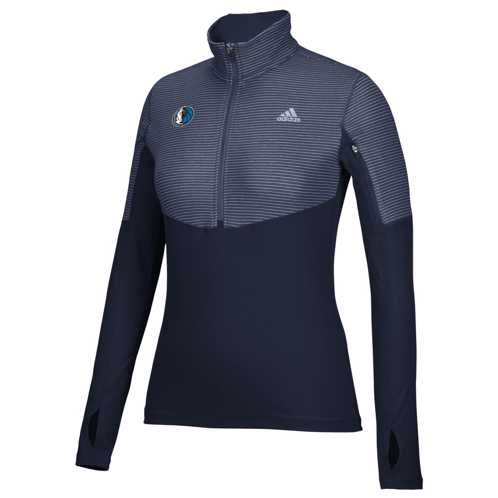 Dallas Mavericks adidas Women's Team Logo Lightweight Performance Half-Zip Jacket - Navy