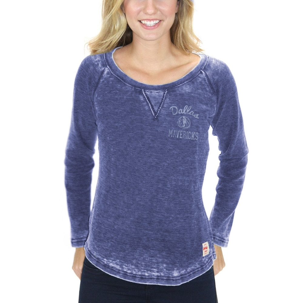 Dallas Mavericks Sportiqe Women's Anna Lightweight Raglan Long Sleeve Thermal T-Shirt - Navy Blue