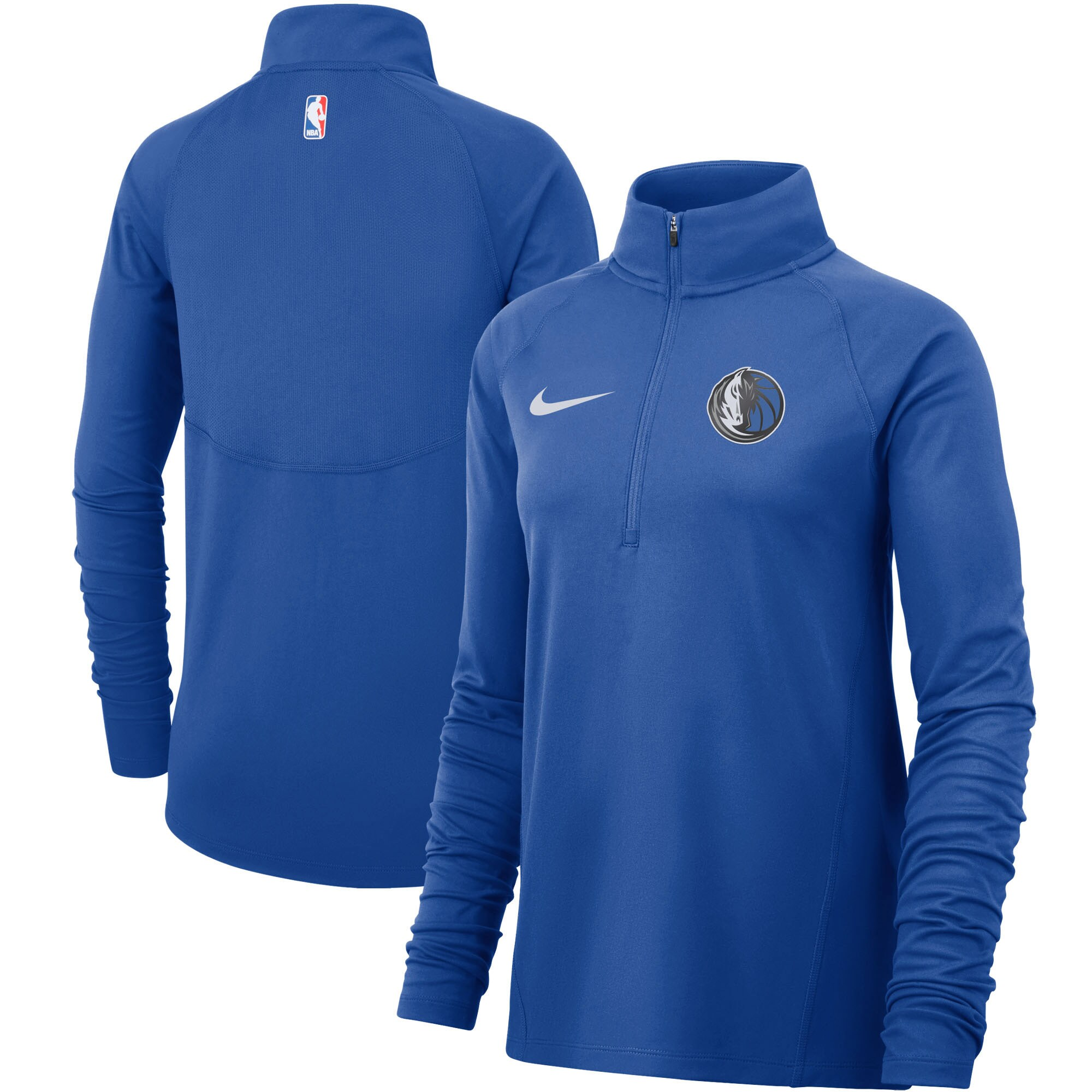 Dallas Mavericks Nike Women's Element Performance Raglan Sleeve Half-Zip Pullover Jacket - Blue