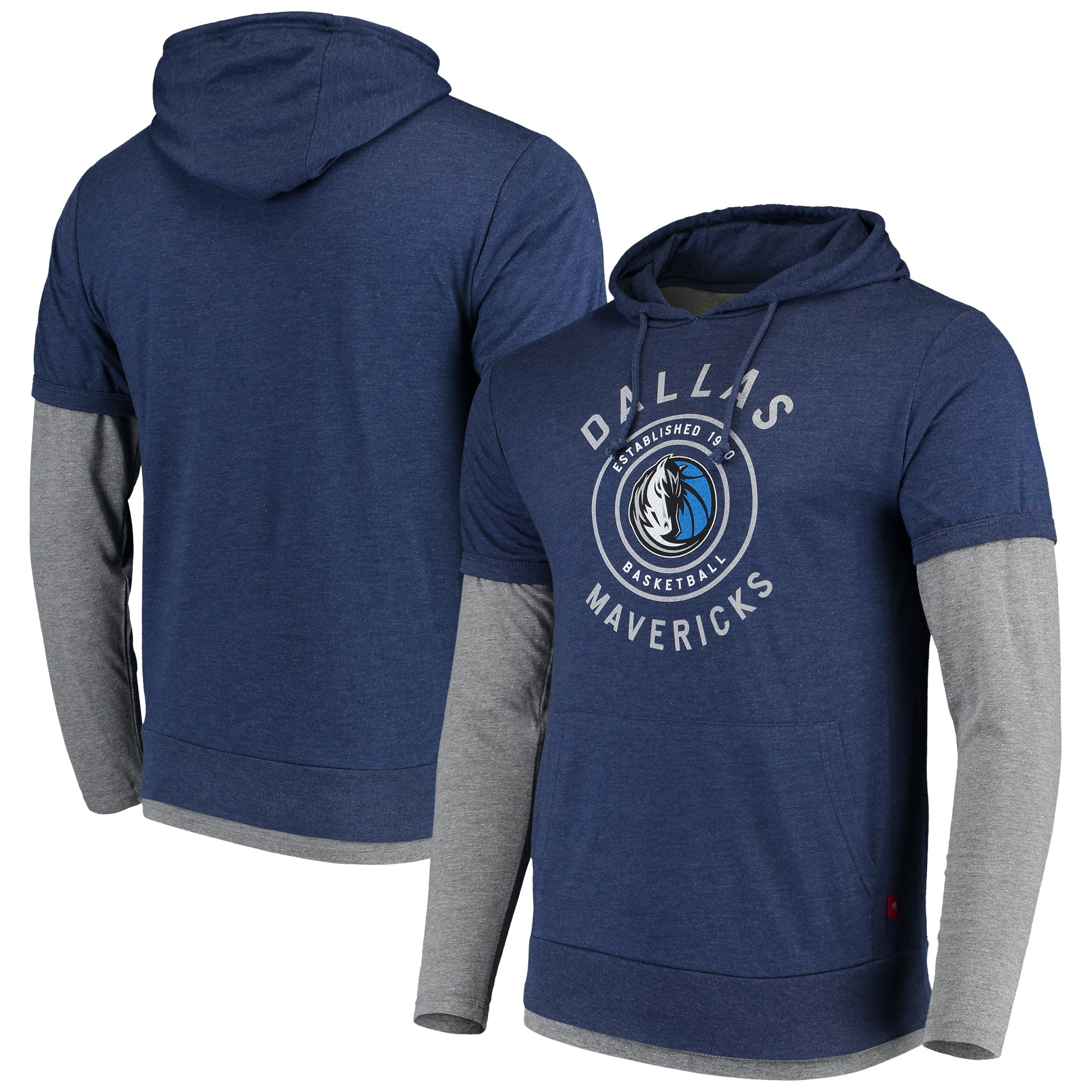 Dallas Mavericks Sportiqe Miller Two-Tone Tri-Blend Pullover Hoodie - Navy