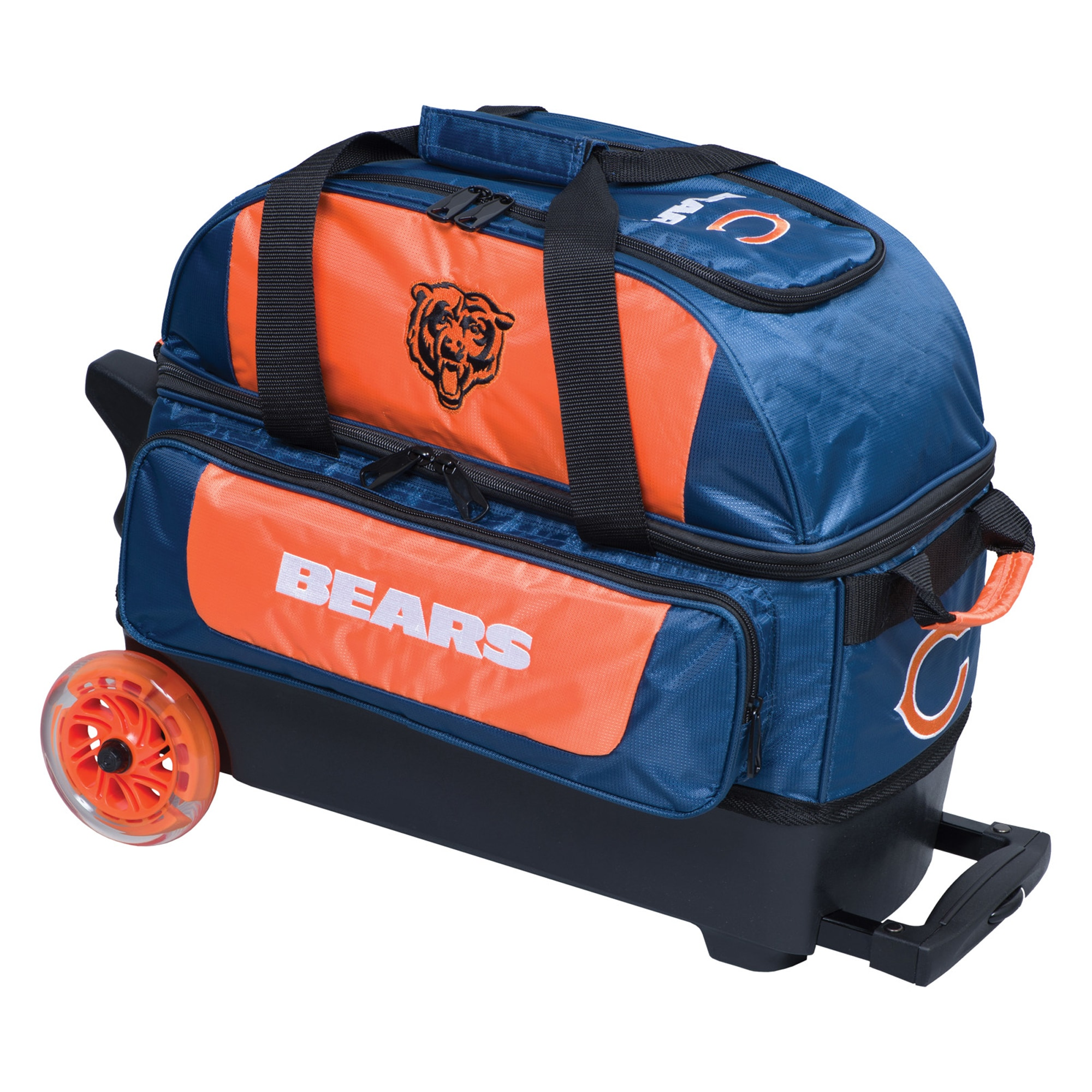 Chicago Bears Two-Ball Roller Bowling Bag - Navy