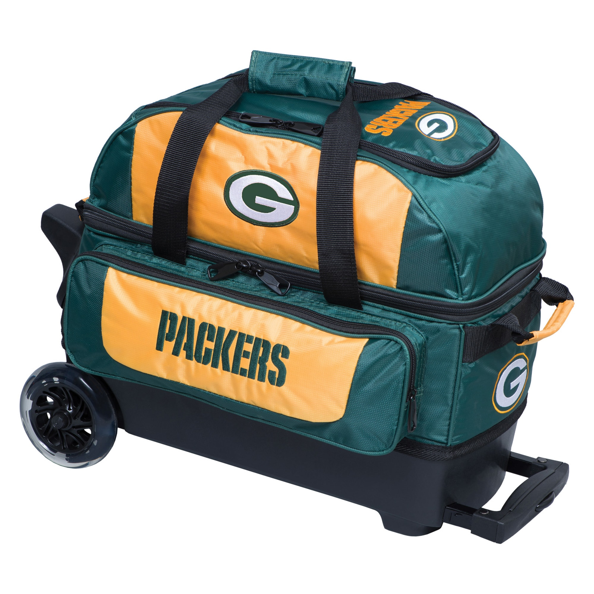 Green Bay Packers Two-Ball Roller Bowling Bag - Green