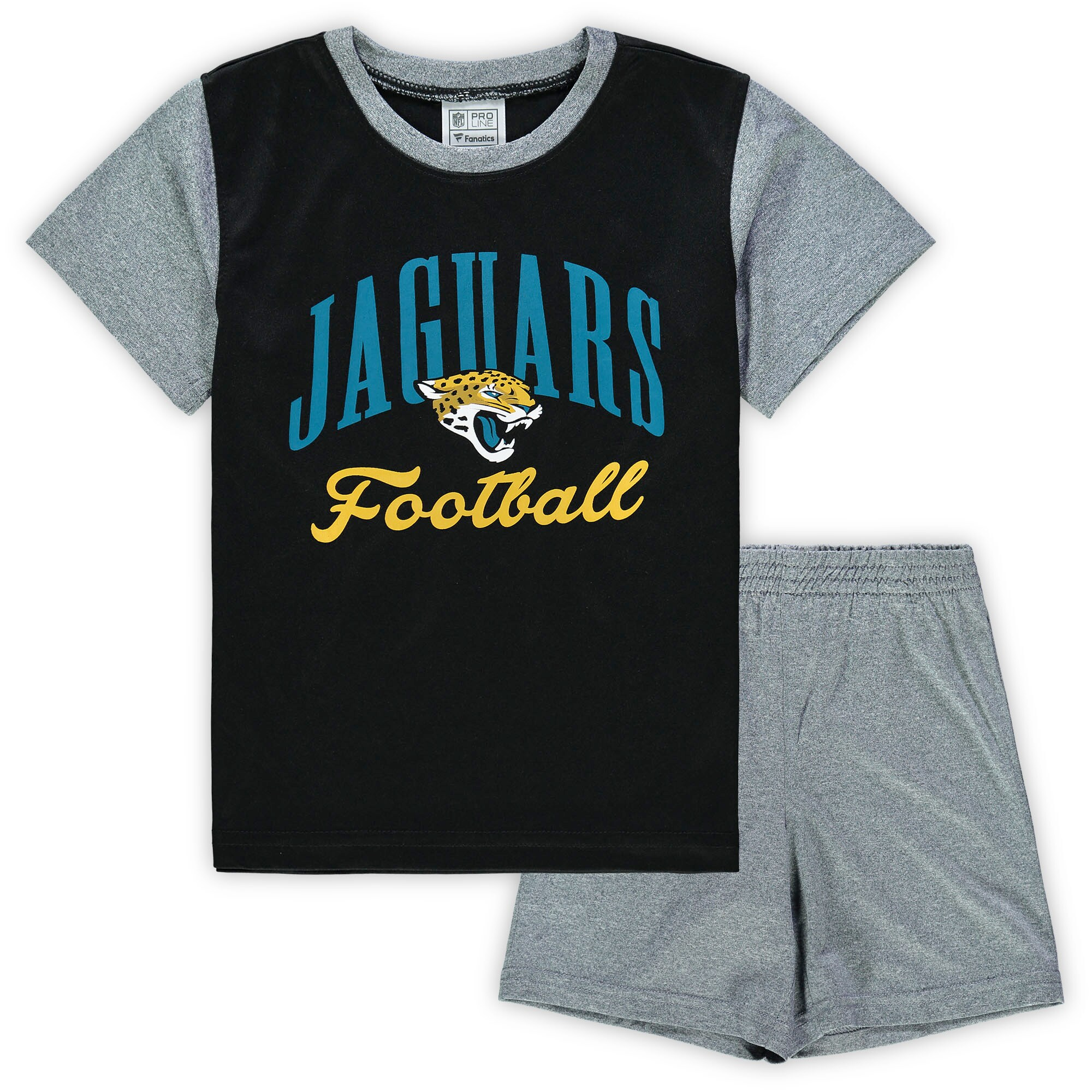 Jacksonville Jaguars NFL Pro Line by Fanatics Branded Toddler Two-Piece Victory Script T-Shirt and Short Set - Black/Heathered Gray