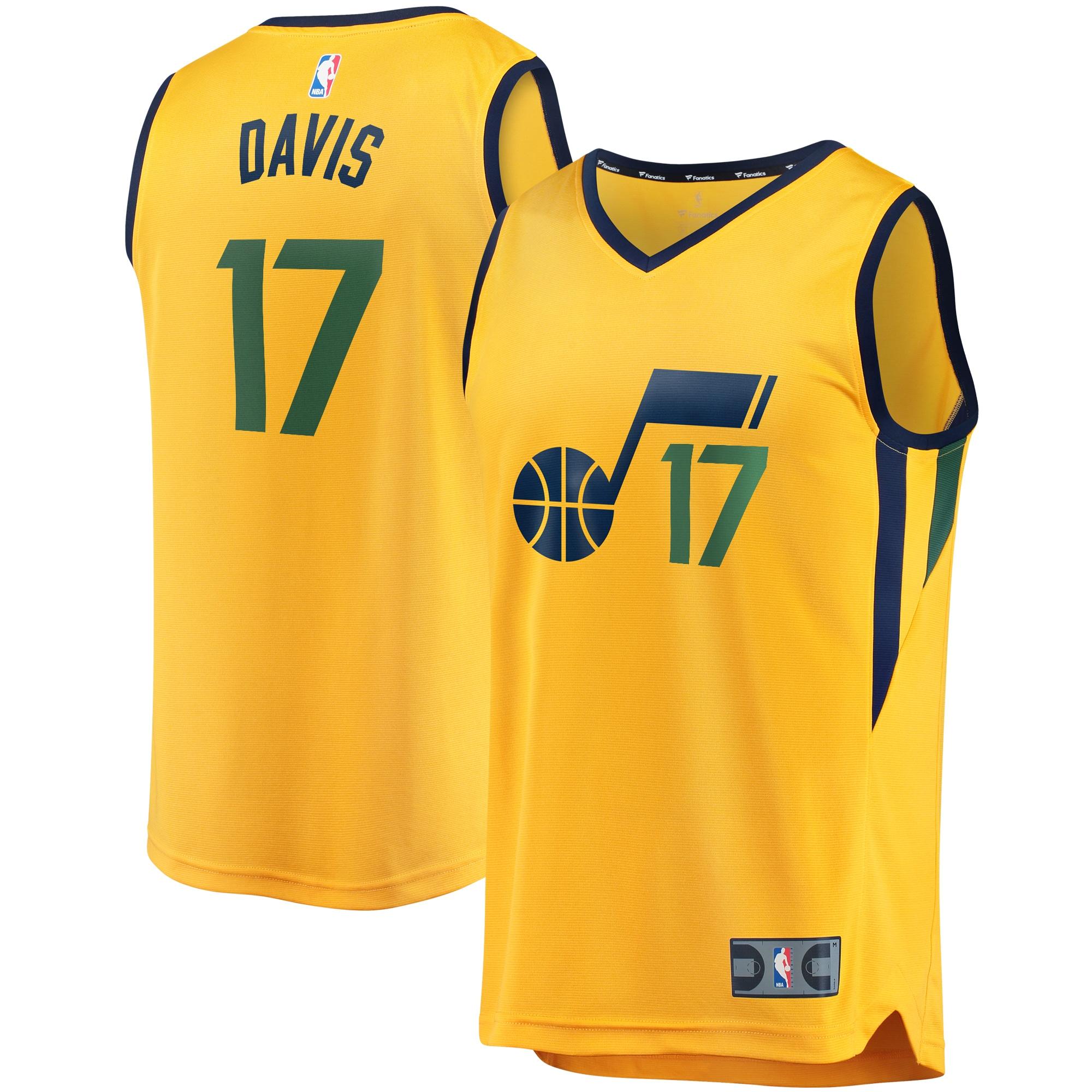 Ed Davis Utah Jazz Fanatics Branded Youth Fast Break Player Jersey - Statement Edition - Gold