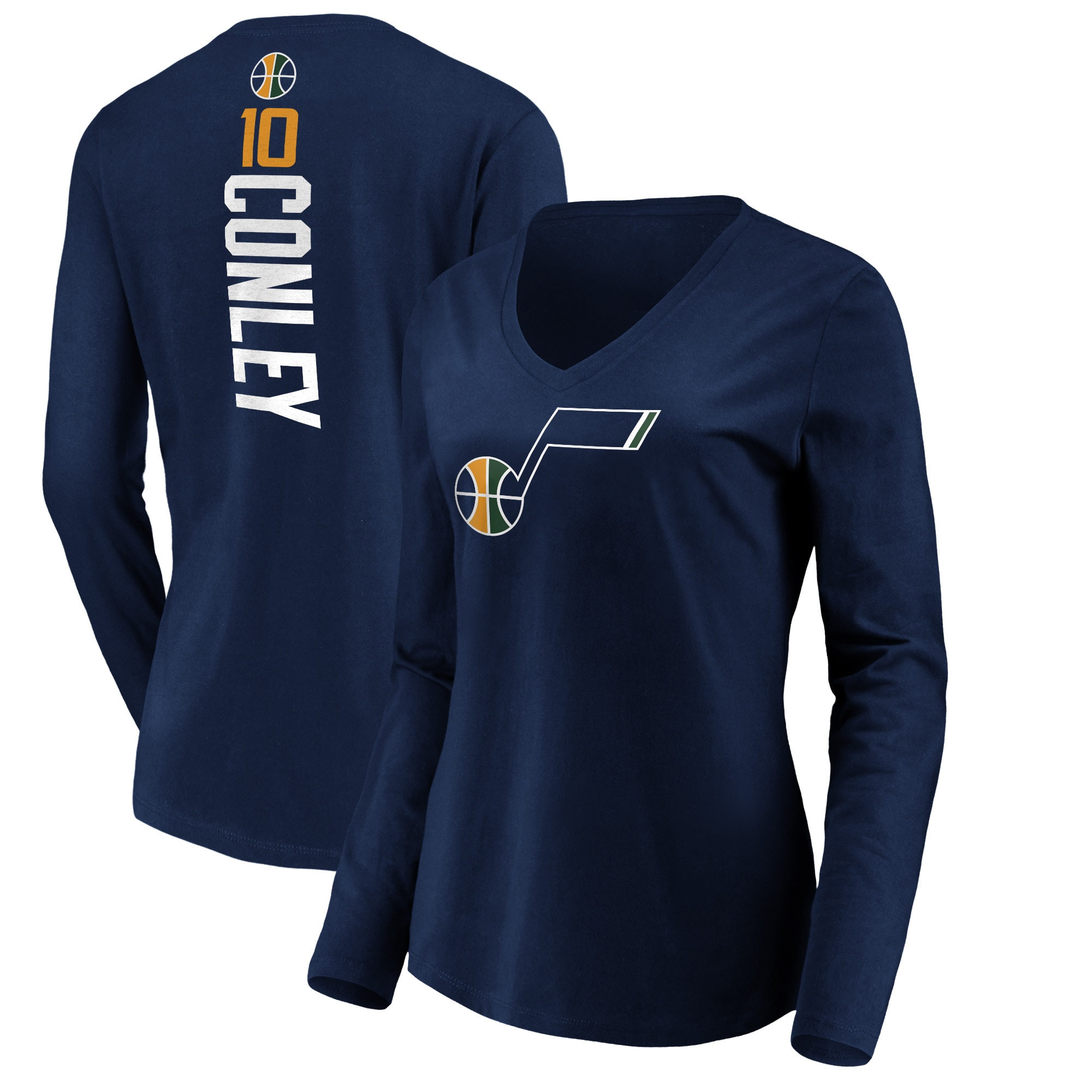 Mike Conley Utah Jazz Fanatics Branded Women's Playmaker Name & Number Long Sleeve T-Shirt - Navy