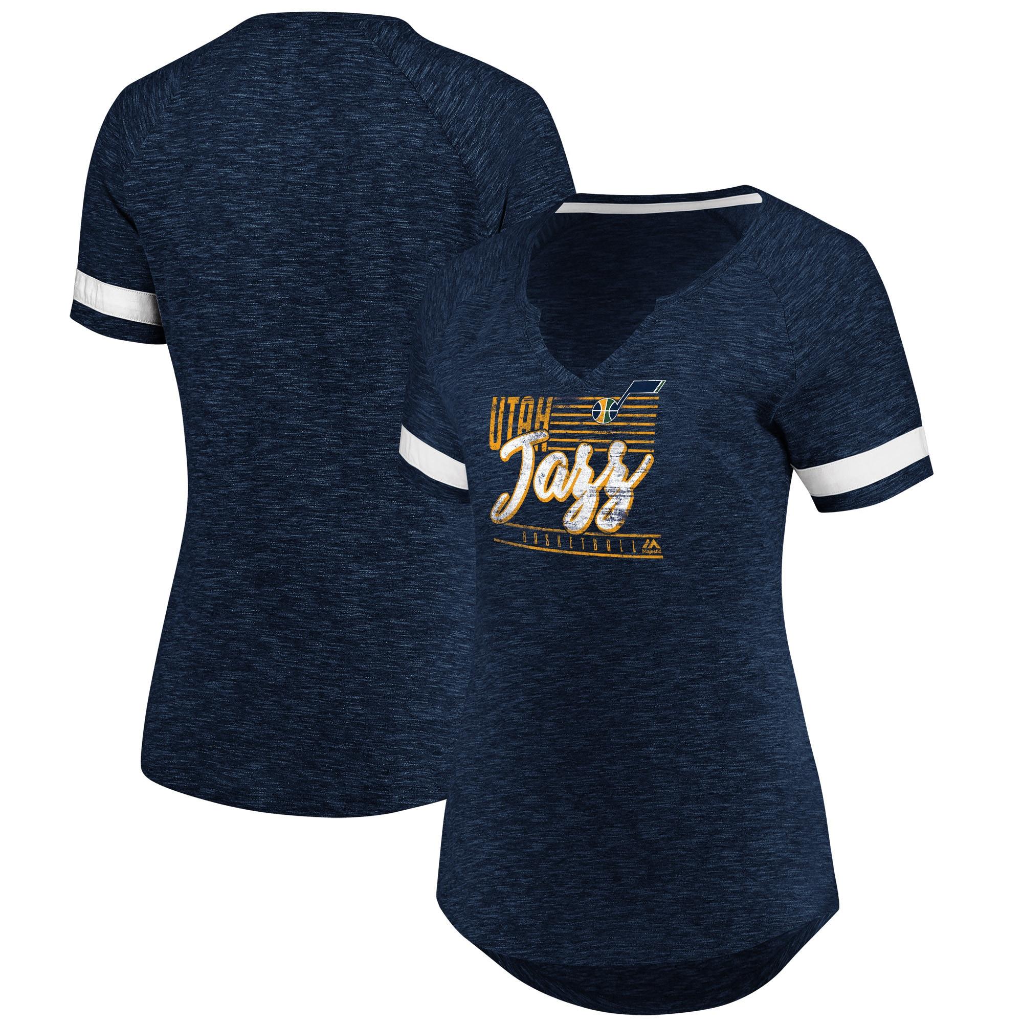 Utah Jazz Fanatics Branded Women's Showtime Winning With Pride Notch Neck T-Shirt - Navy/White