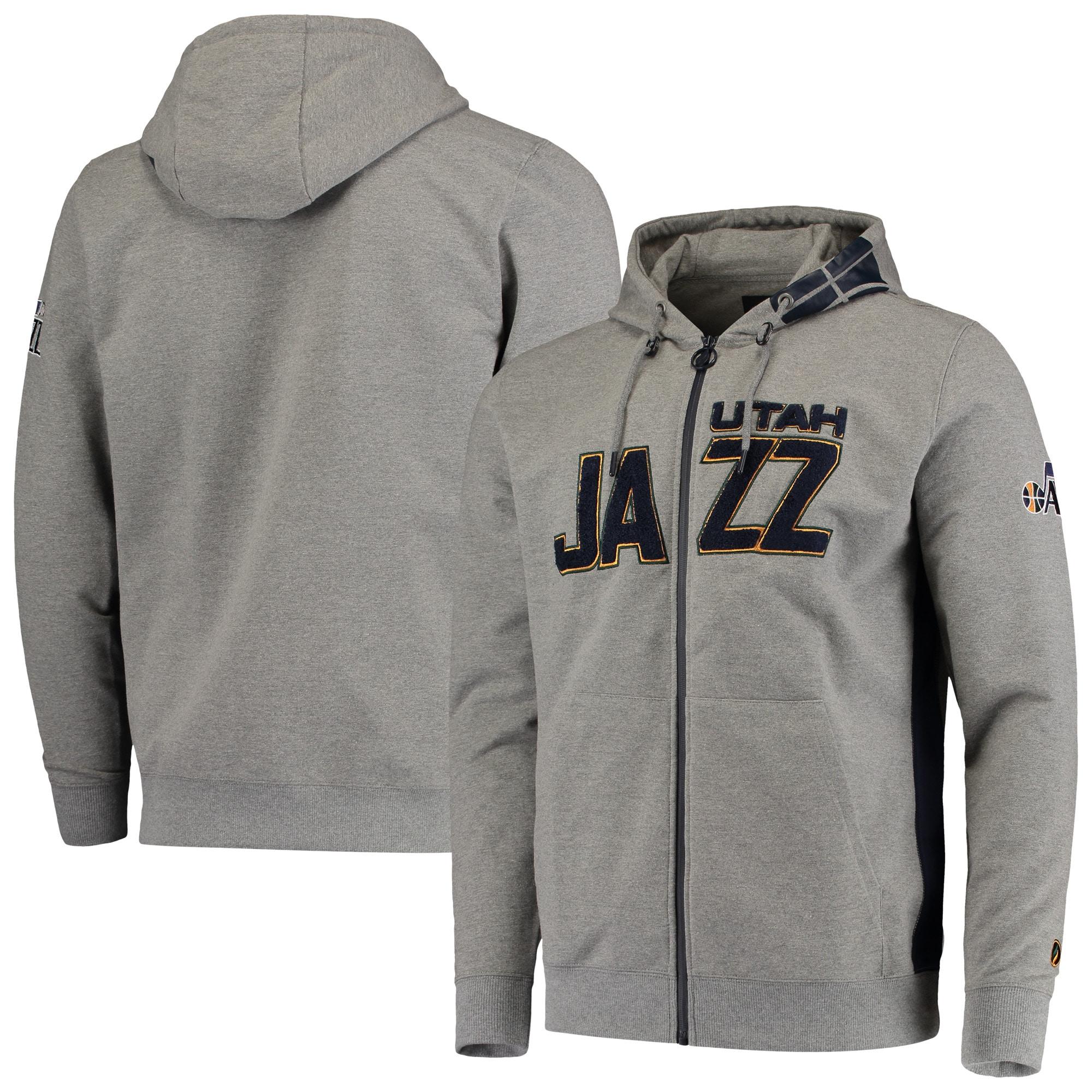 Utah Jazz Core Chenille French Terry Tri-Blend Full-Zip Hoodie - Gray