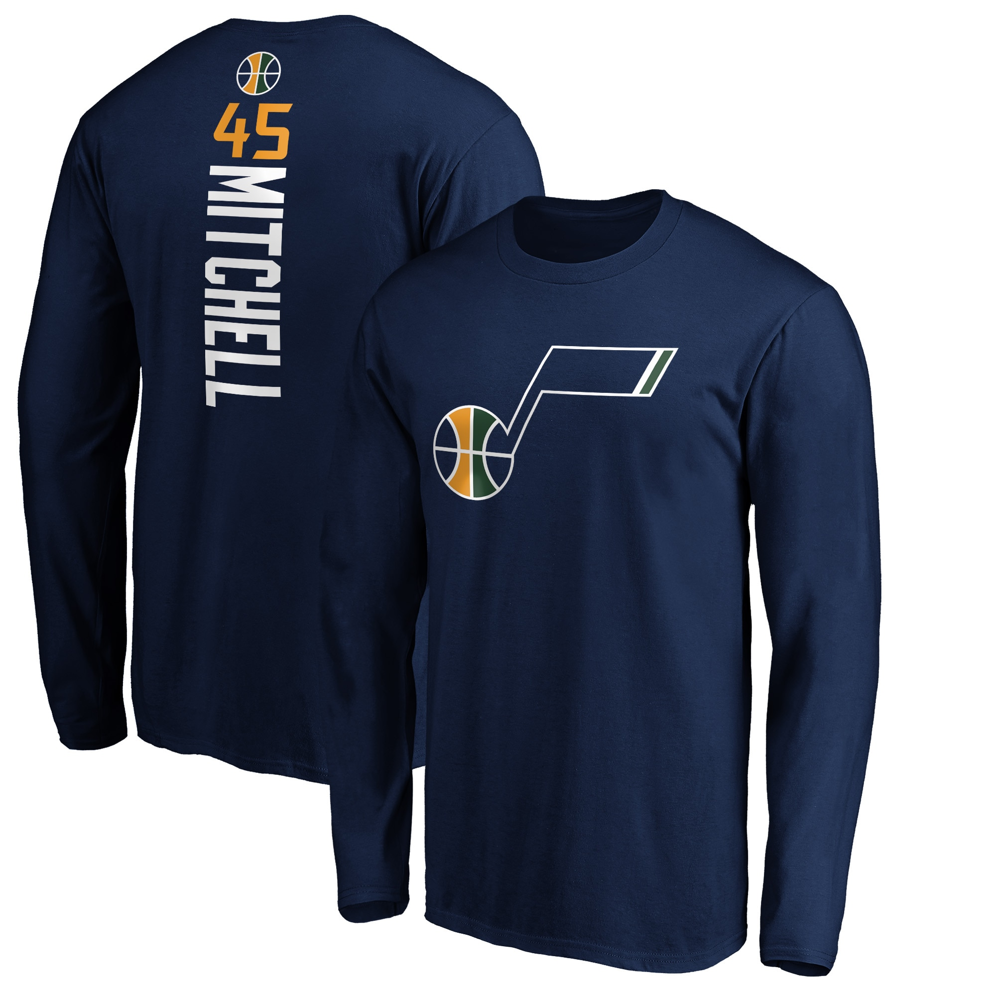 Donovan Mitchell Utah Jazz Fanatics Branded Big & Tall Playmaker Name & Number Long Sleeve T-Shirt - Navy