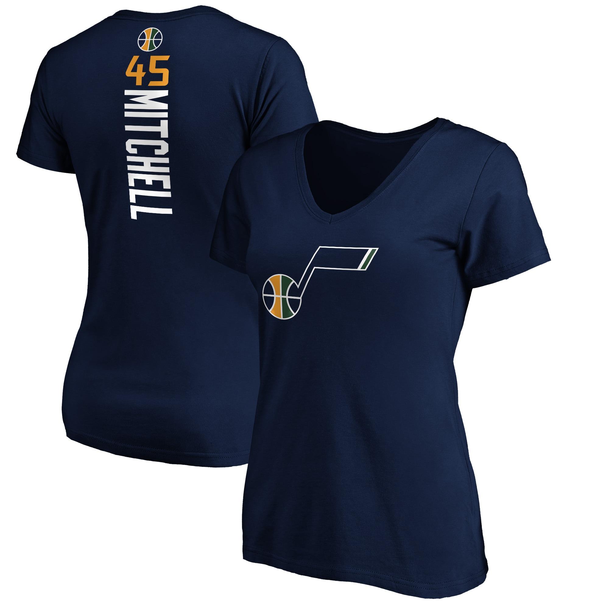 Donovan Mitchell Utah Jazz Fanatics Branded Women's Plus Size Playmaker Name & Number V-Neck T-Shirt - Navy