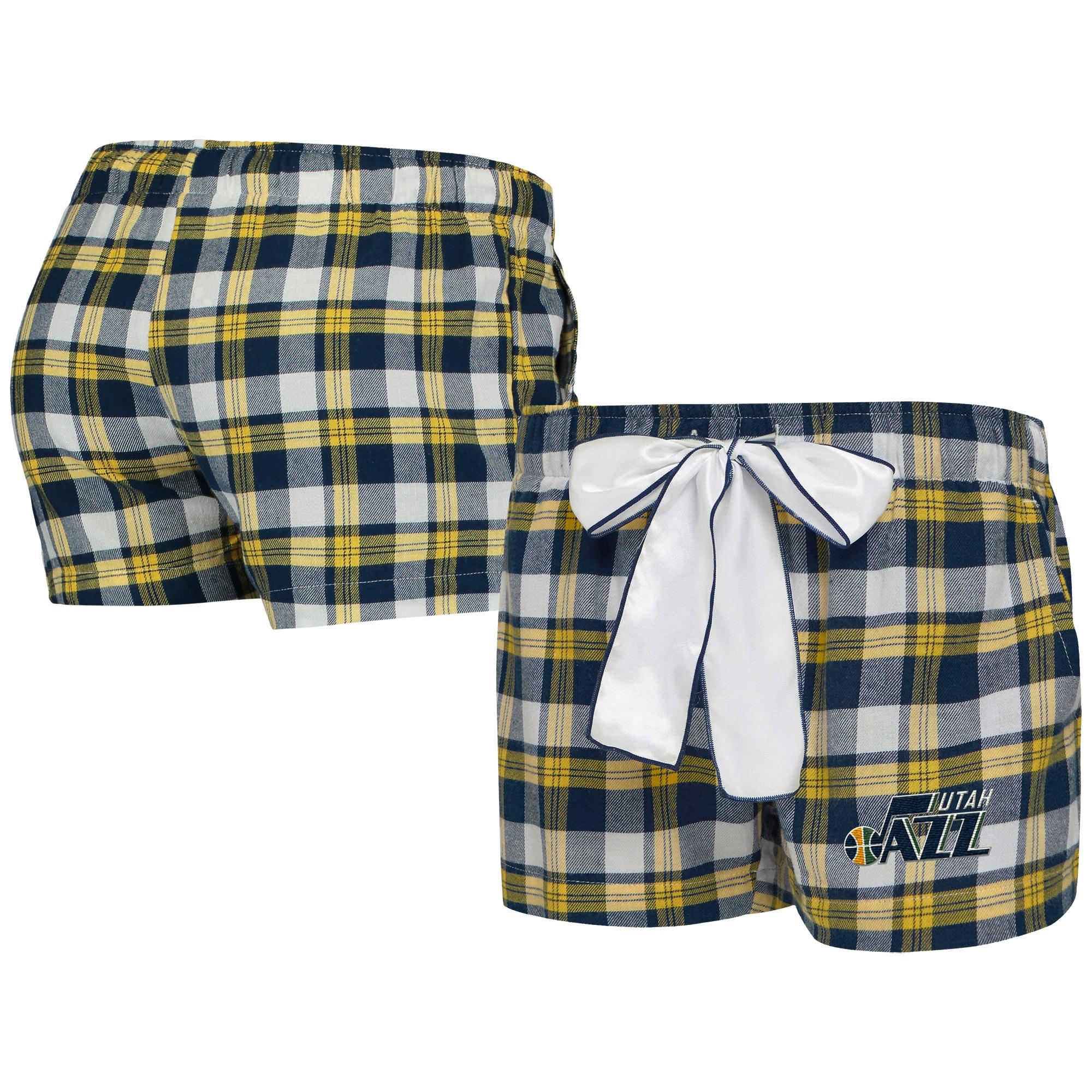 Utah Jazz Concepts Sport Women's Piedmont Flannel Sleep Shorts - Navy/Gold