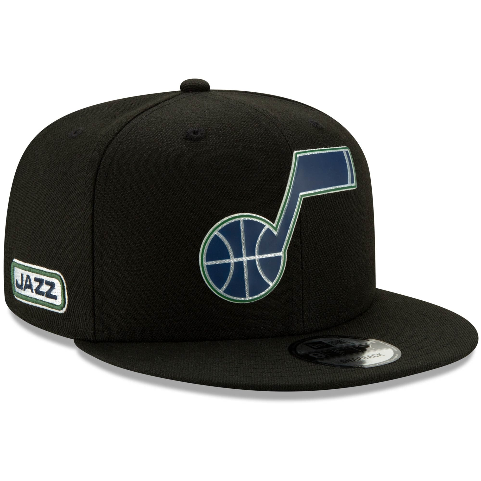 Utah Jazz New Era Official Back Half 9FIFTY Adjustable Snapback Hat - Black