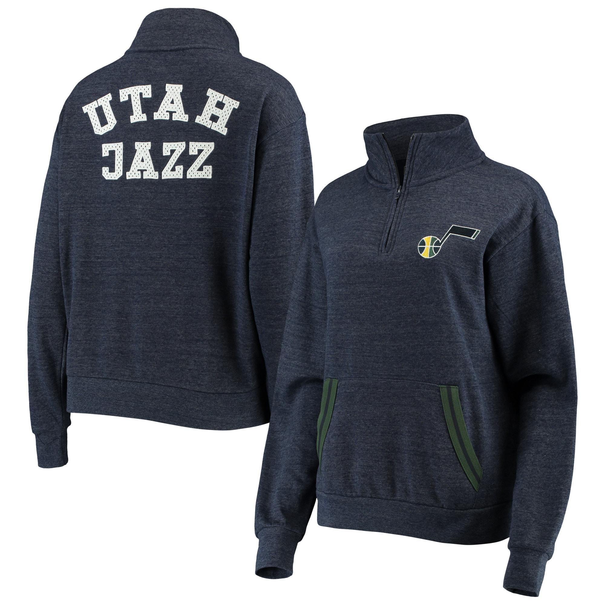 Utah Jazz New Era Women's Striped Trim Tri-Blend Half-Zip Pullover Jacket - Navy