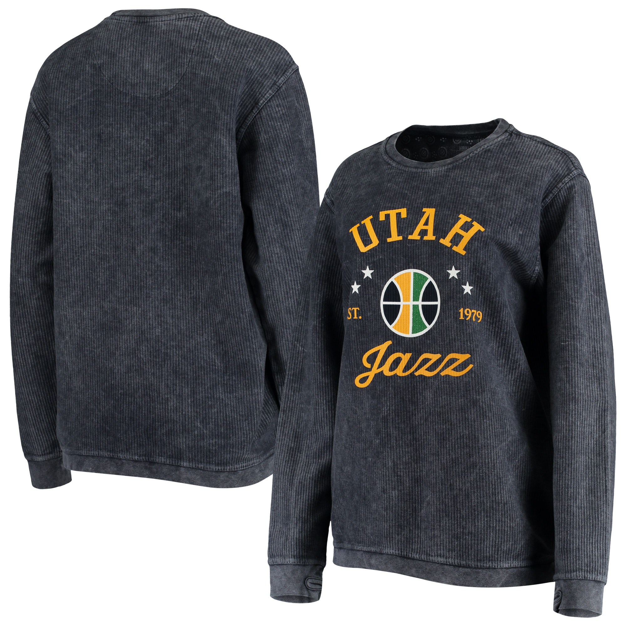 Utah Jazz G-III Sports by Carl Banks Women's Slouchy Comfy Cord Crewneck Pullover Sweatshirt - Navy