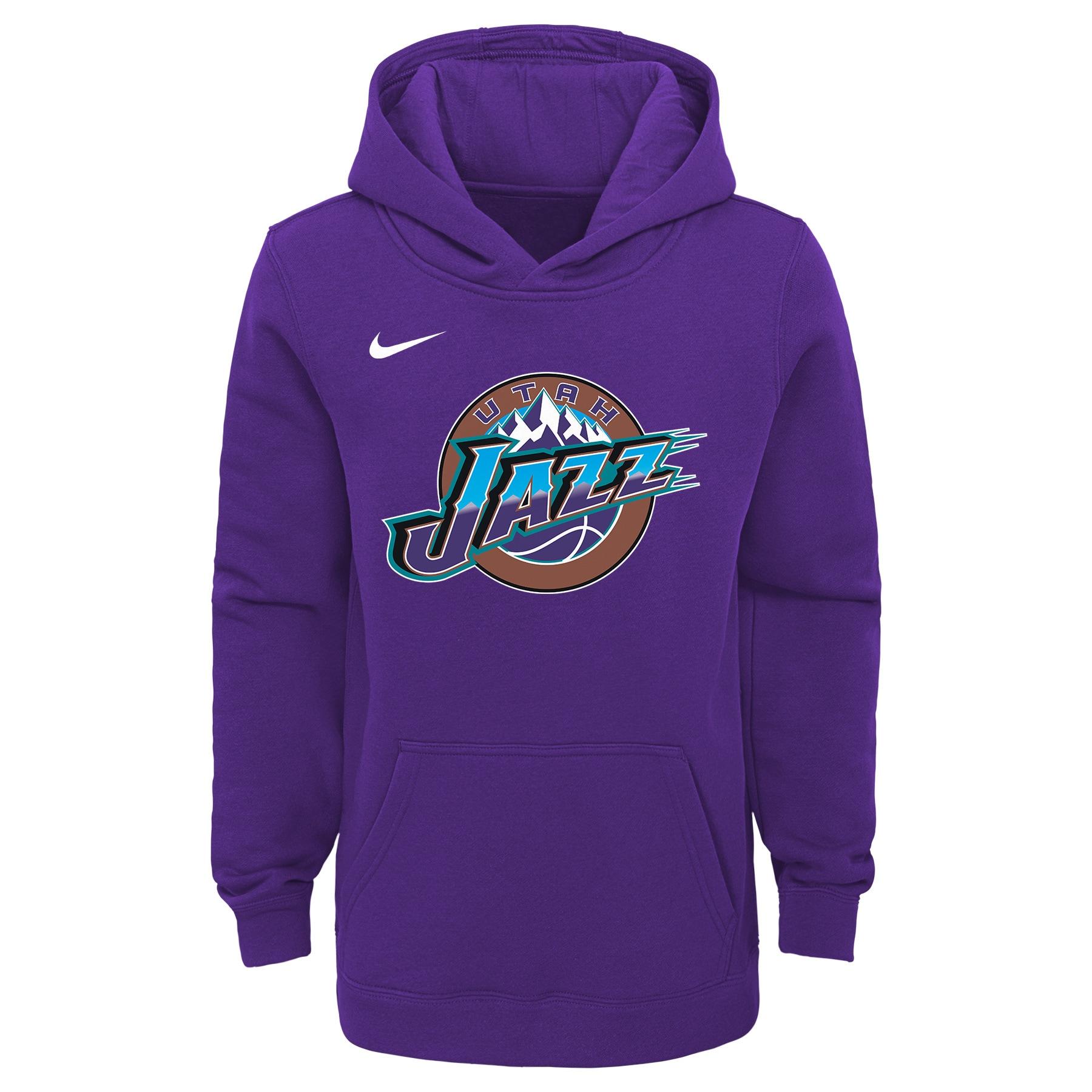 Utah Jazz Nike Youth Hardwood Classics Club Fleece Pullover Hoodie - Purple