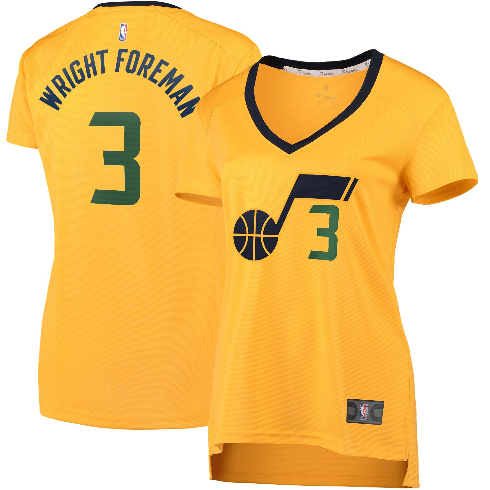 Justin Wright-Foreman Utah Jazz Fanatics Branded Women's Fast Break Replica Jersey Gold - Statement Edition