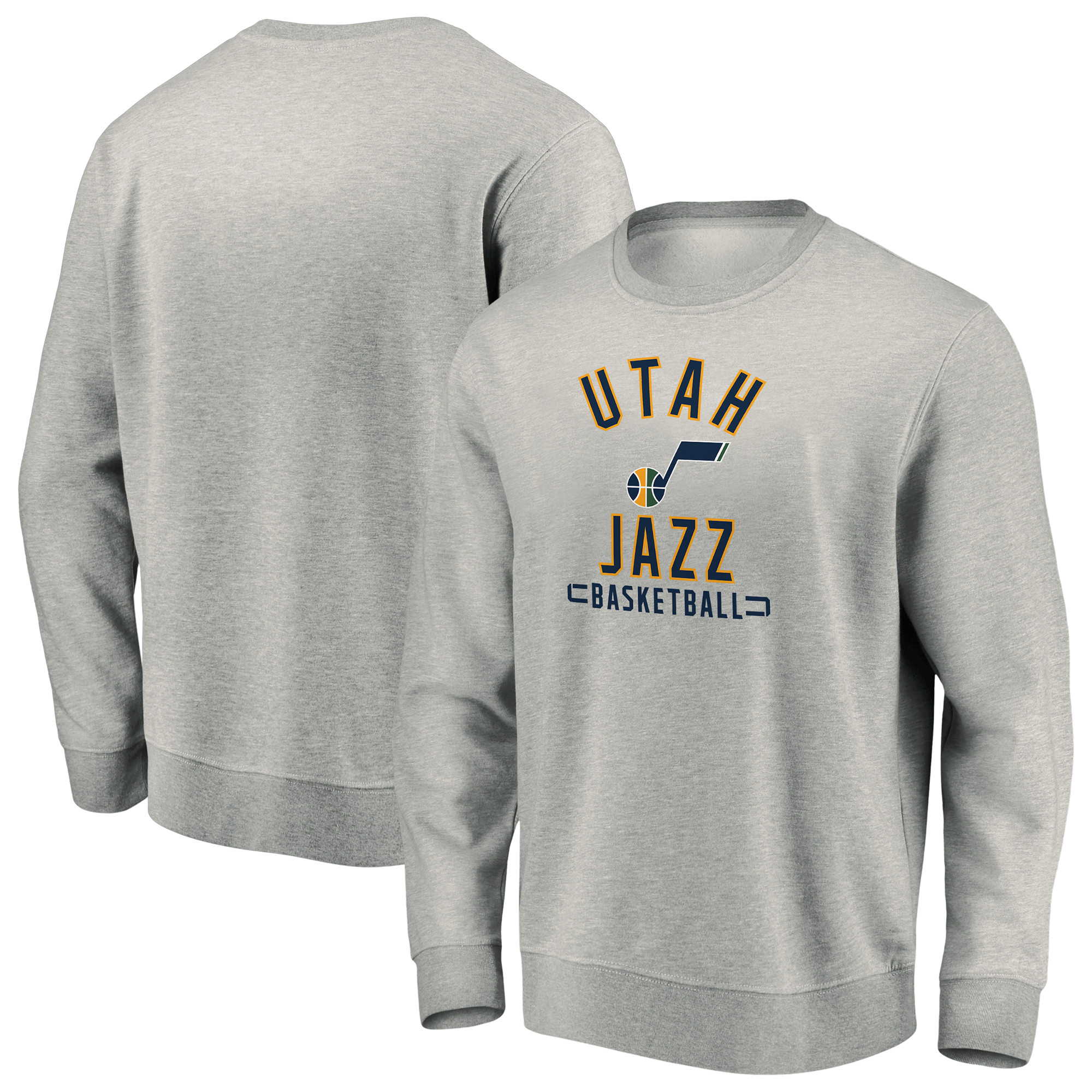 Utah Jazz Fanatics Branded Iconic Team Arc Stack Fleece Sweatshirt - Heathered Gray