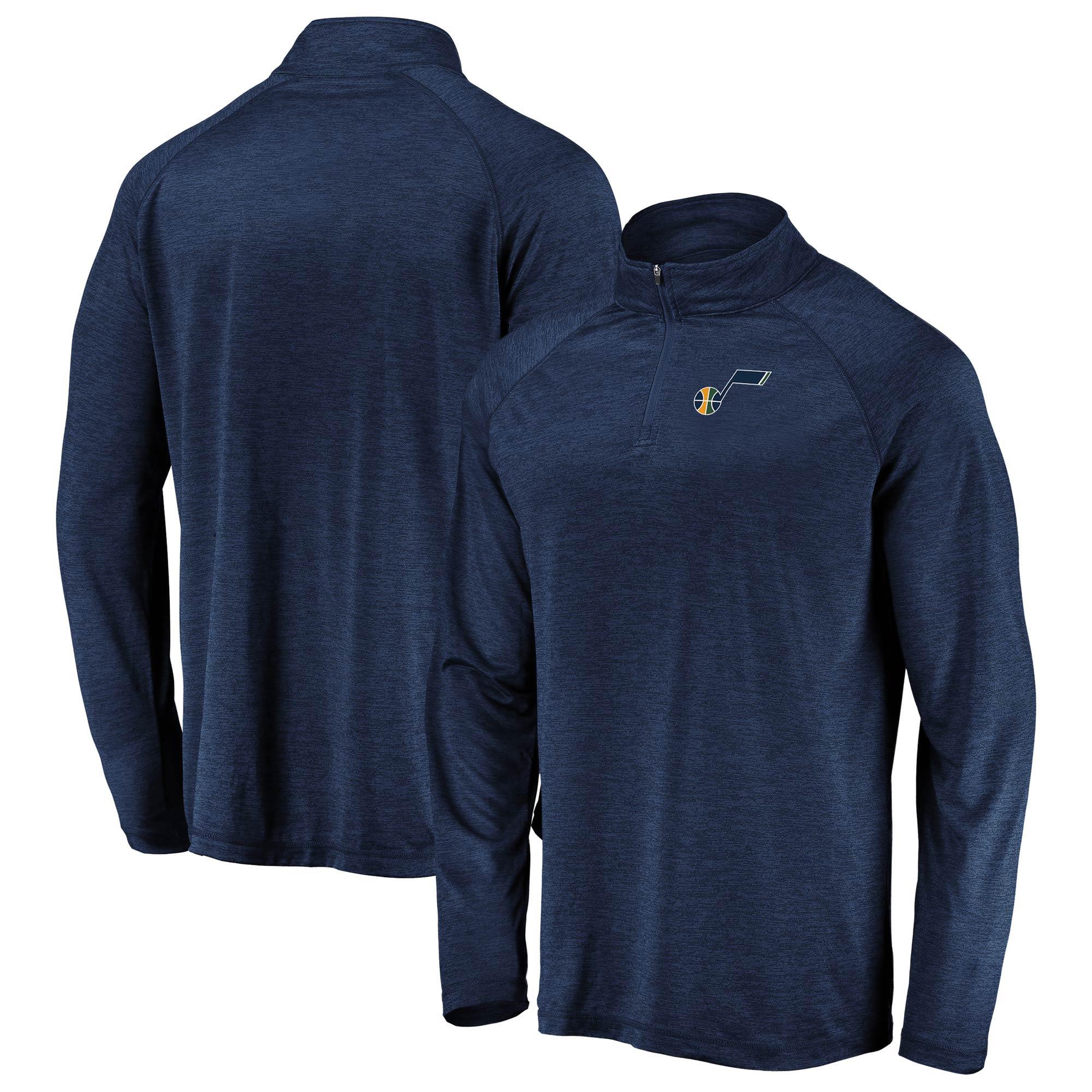Utah Jazz Fanatics Branded Iconic Striated Raglan Quarter-Zip Pullover Jacket - Navy