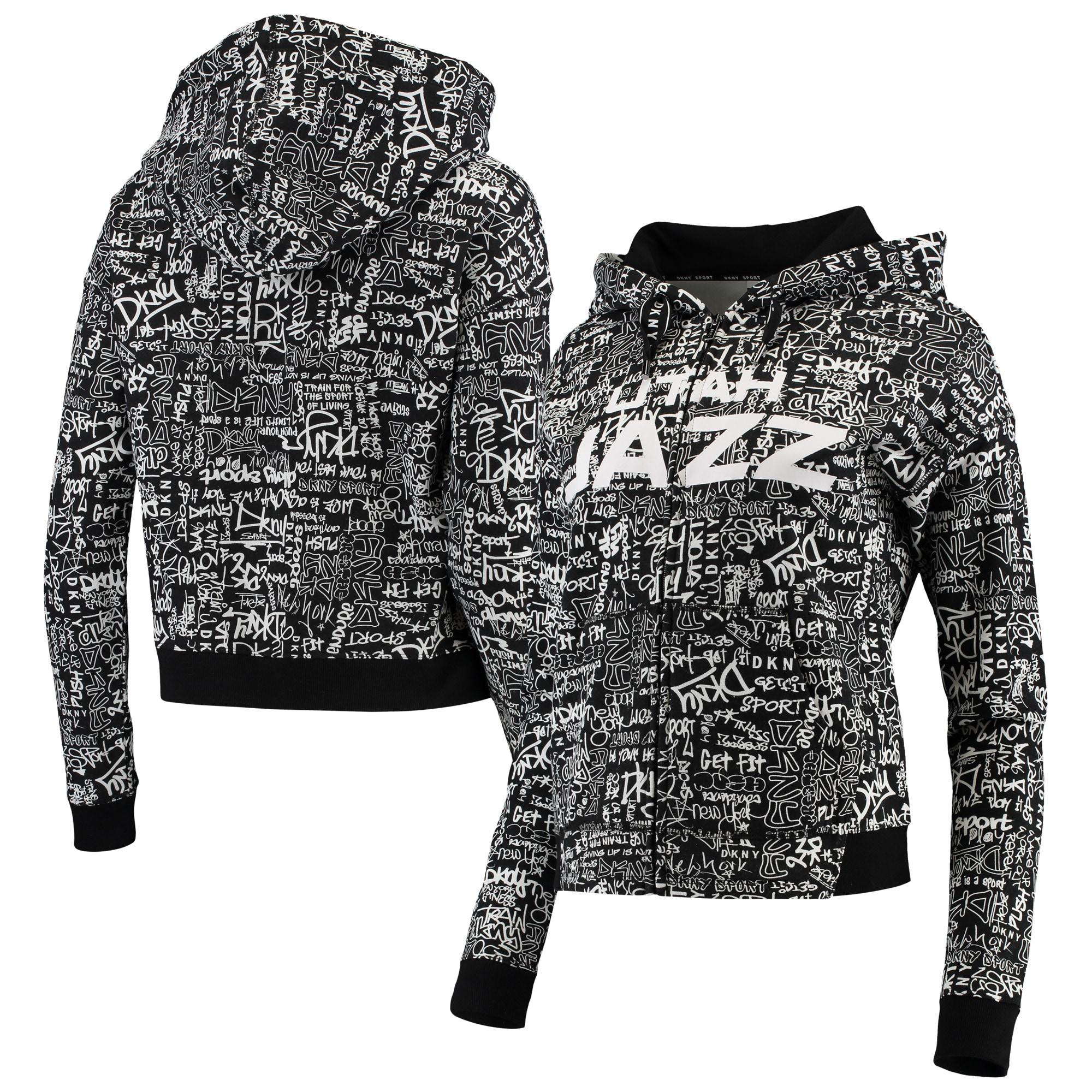 Utah Jazz DKNY Sport Women's Urban Full-Zip Hoodie - Black
