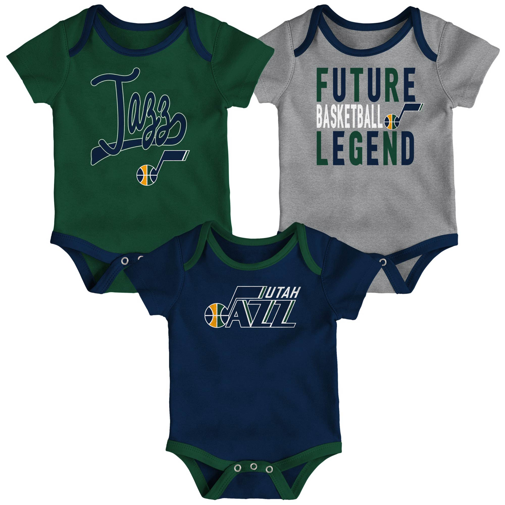 Utah Jazz Infant Champion Three-Piece Bodysuit Set - Navy/Green/Gray