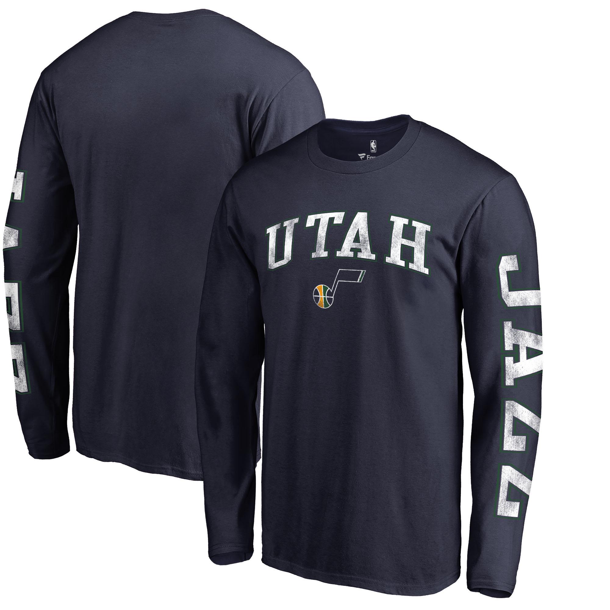 Utah Jazz Fanatics Branded Distressed Arch Primary Logo Long Sleeve T-Shirt - Navy