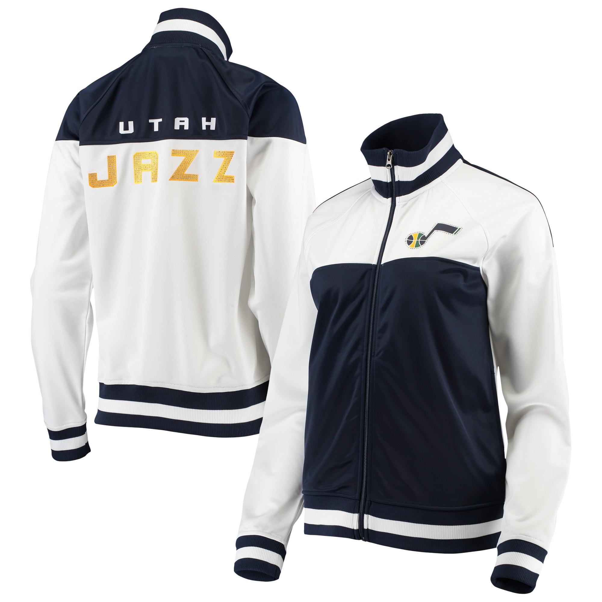 Utah Jazz G-III 4Her by Carl Banks Women's Tip Off Rhinestone Tricot Full-Zip Track Jacket - White/Navy