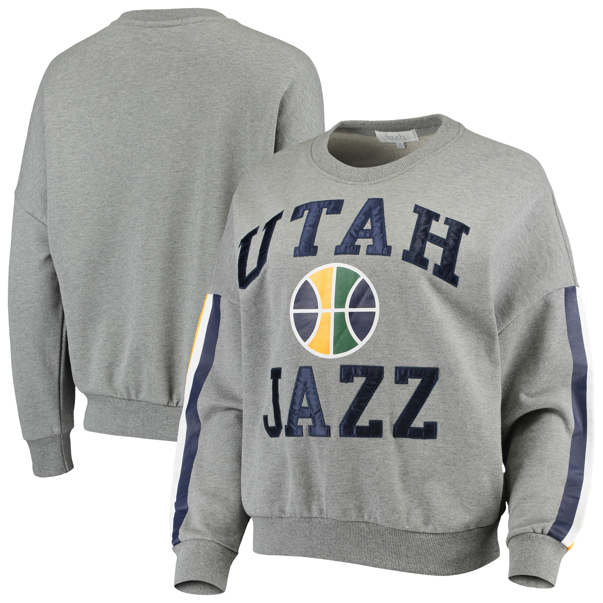 Utah Jazz G-III 4Her by Carl Banks Women's Slouchy Rookie French Terry Pullover Sweatshirt - Gray