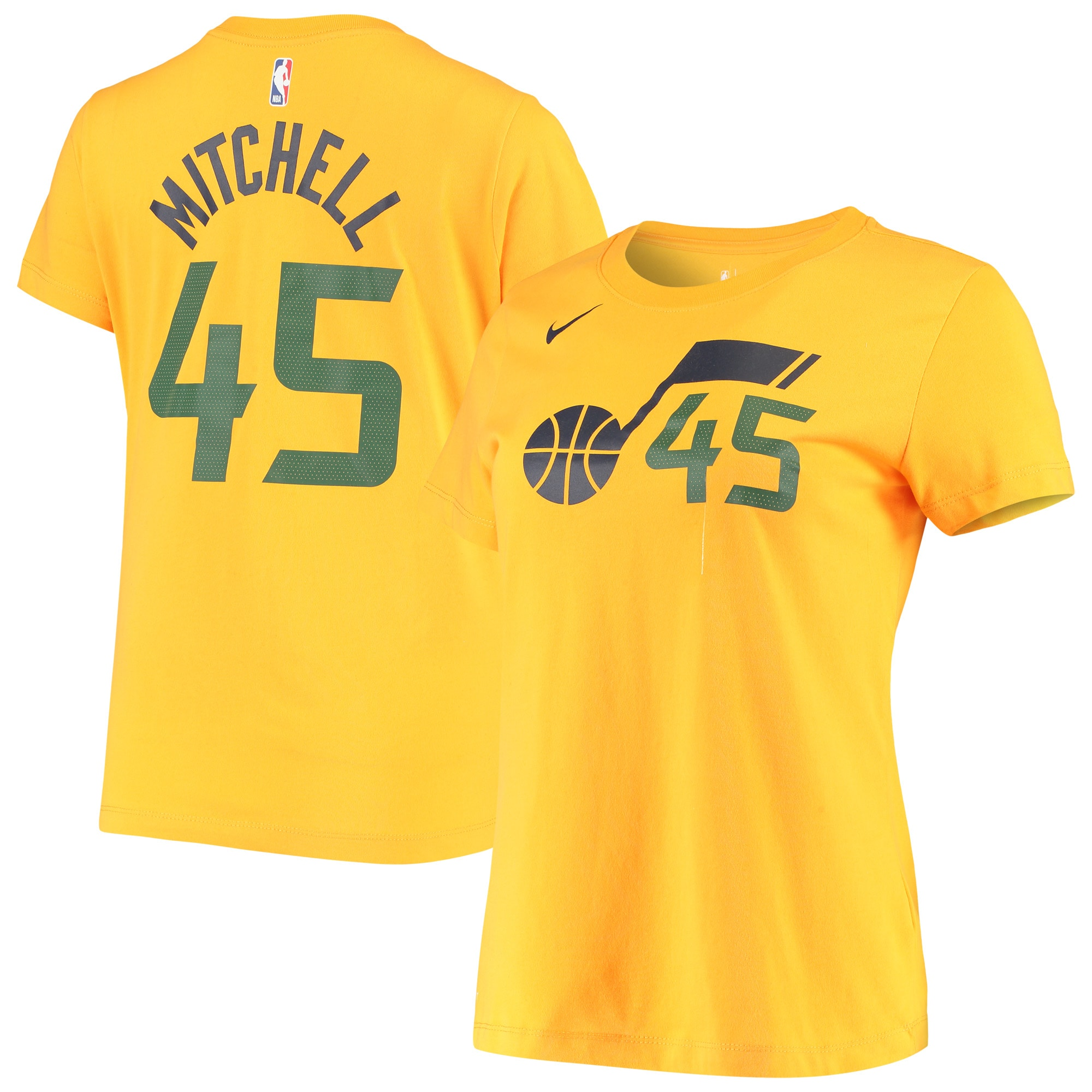 Donovan Mitchell Utah Jazz Nike Women's 2019/20 City Edition Name & Number Team Performance T-Shirt - Gold