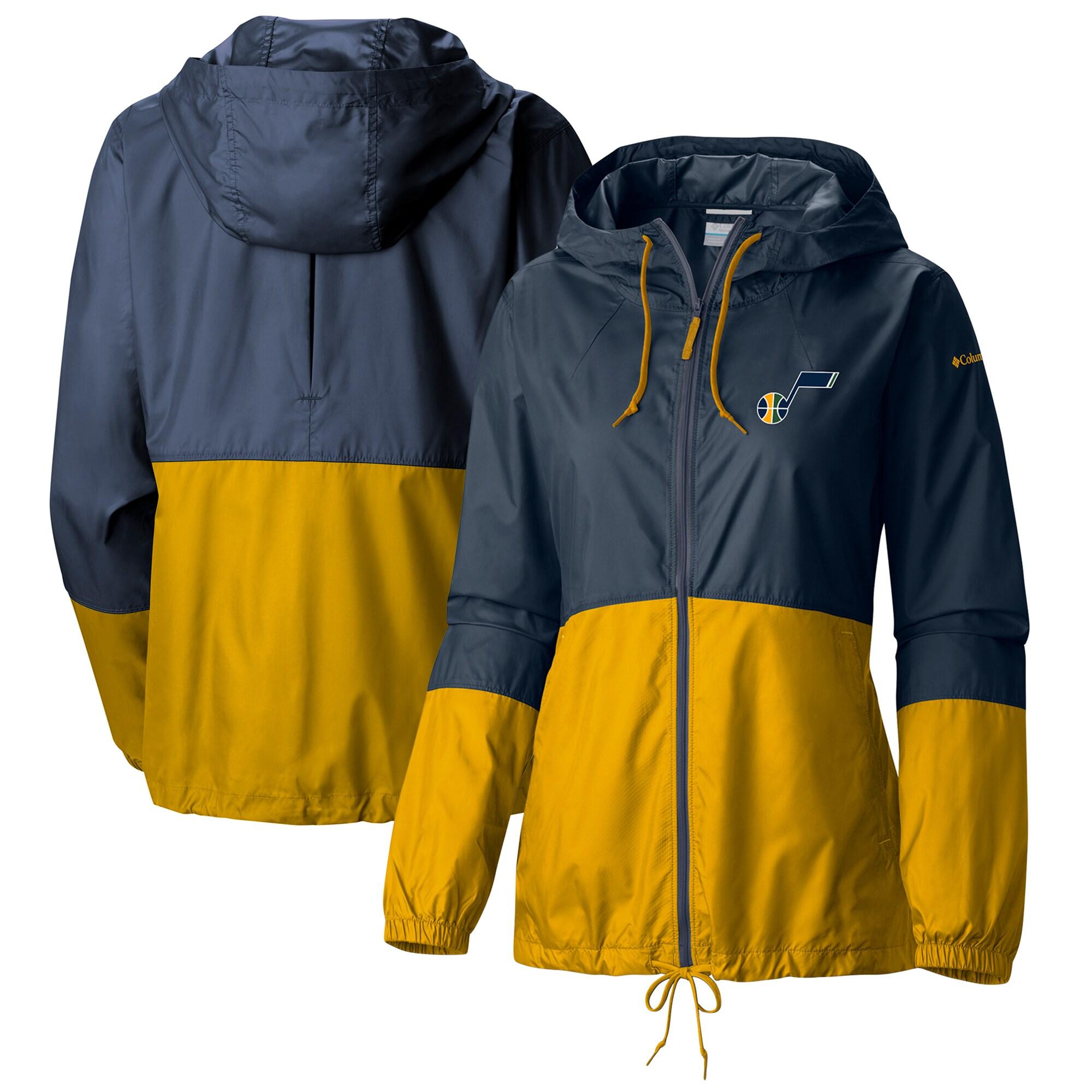 Utah Jazz Columbia Women's Flash Forward Full-Zip Windbreaker Jacket - Navy