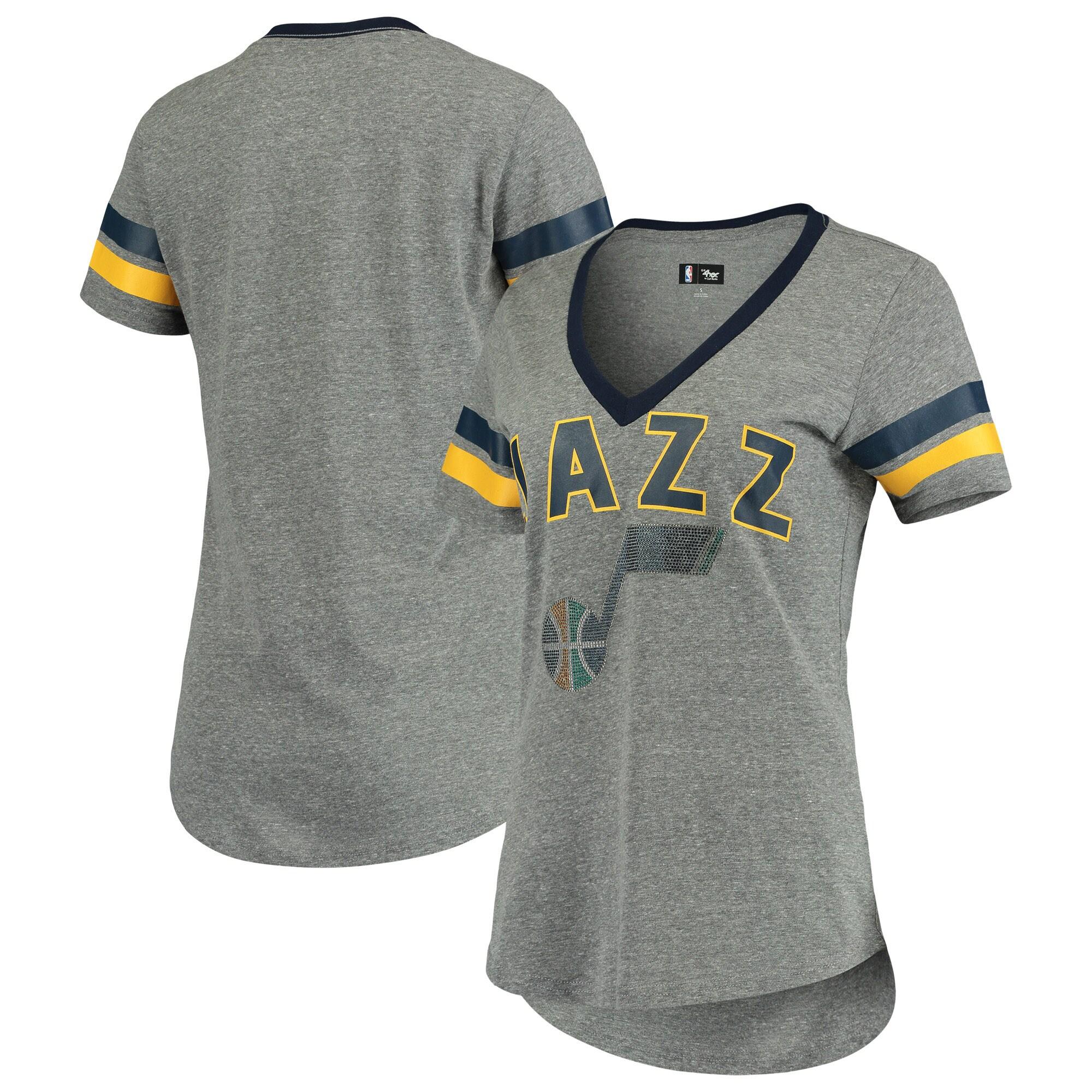Utah Jazz G-III 4Her by Carl Banks Women's Walk Off Crystal Applique Logo V-Neck Tri-Blend T-Shirt - Gray/Navy
