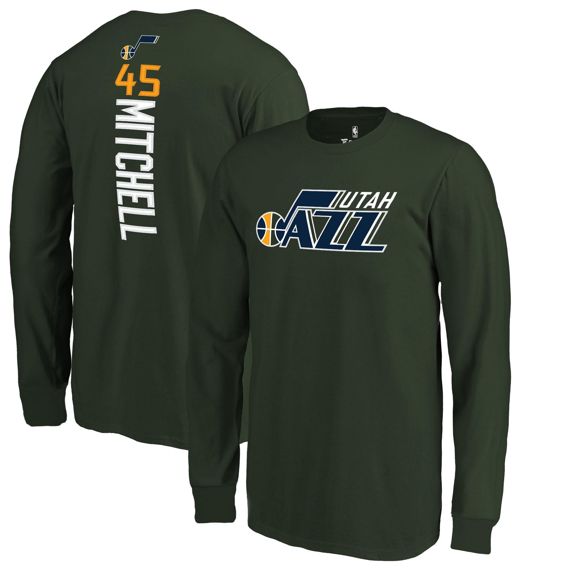 Donovan Mitchell Utah Jazz Fanatics Branded Youth Team Backer Name & Number Long Sleeve T-Shirt - Green