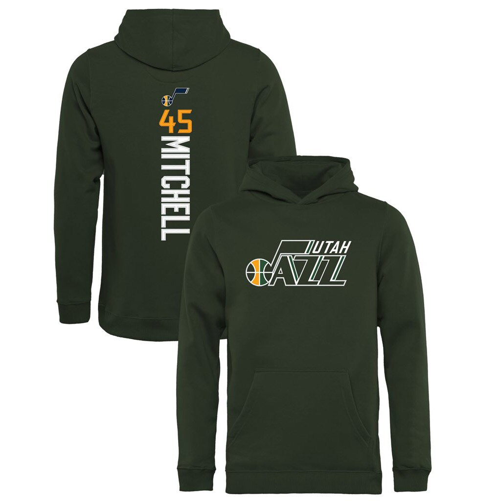 Donovan Mitchell Utah Jazz Fanatics Branded Youth Team Backer Name & Number Pullover Hoodie - Green
