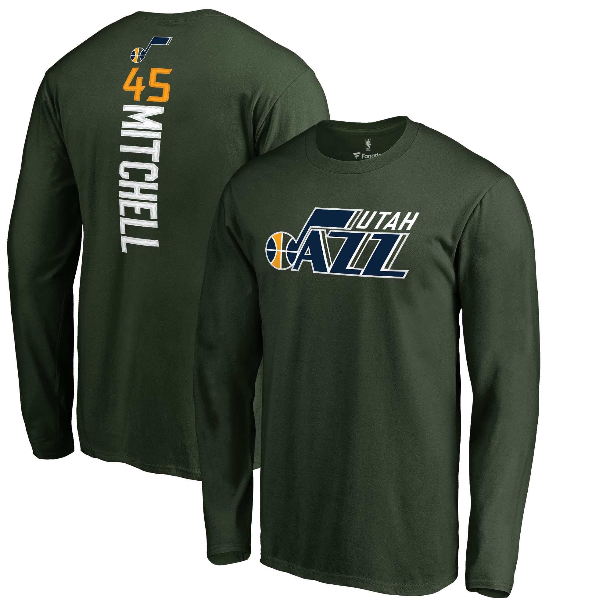 Donovan Mitchell Utah Jazz Fanatics Branded Team Backer Name & Number Long Sleeve T-Shirt - Green
