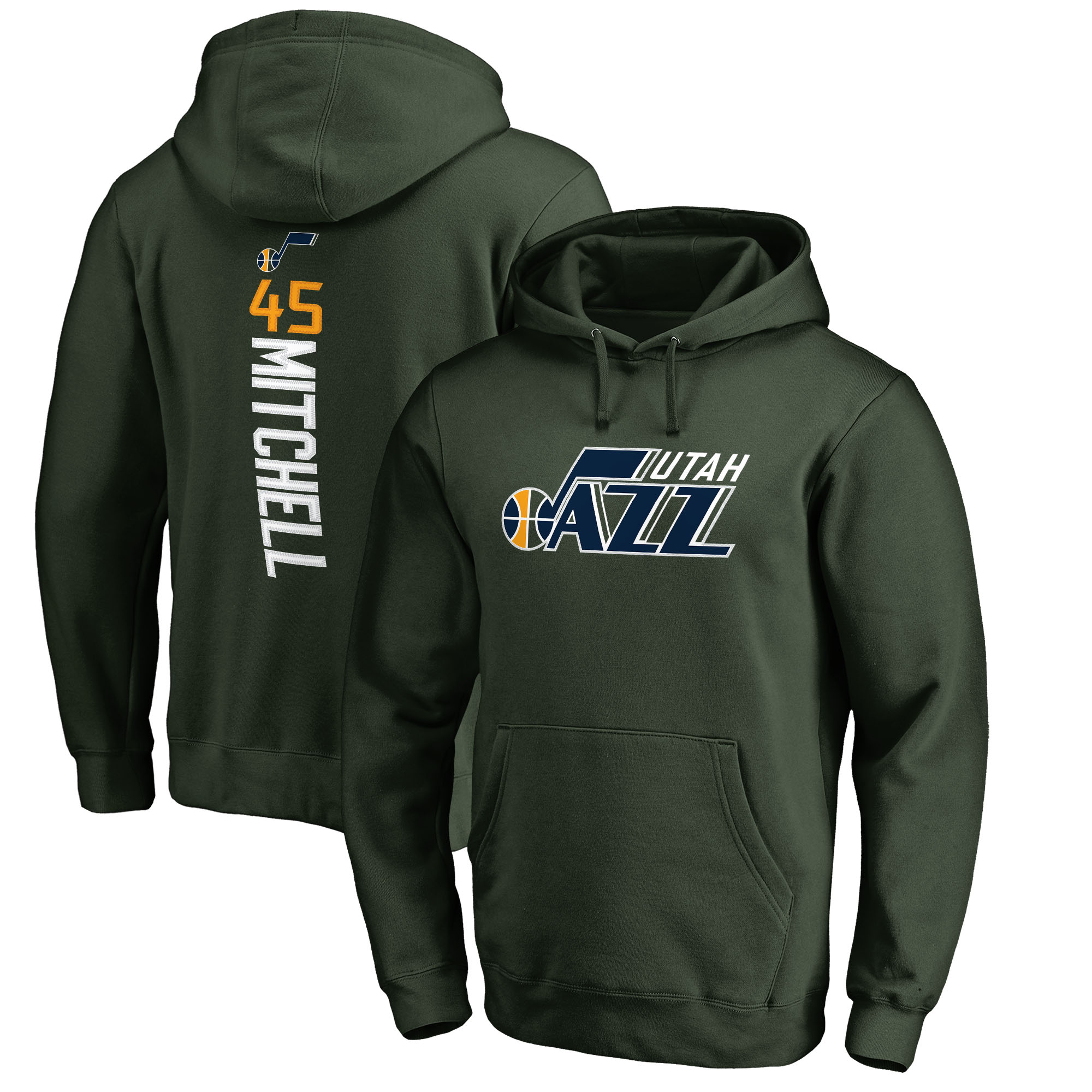 Donovan Mitchell Utah Jazz Fanatics Branded Team Backer Name & Number Pullover Hoodie - Green