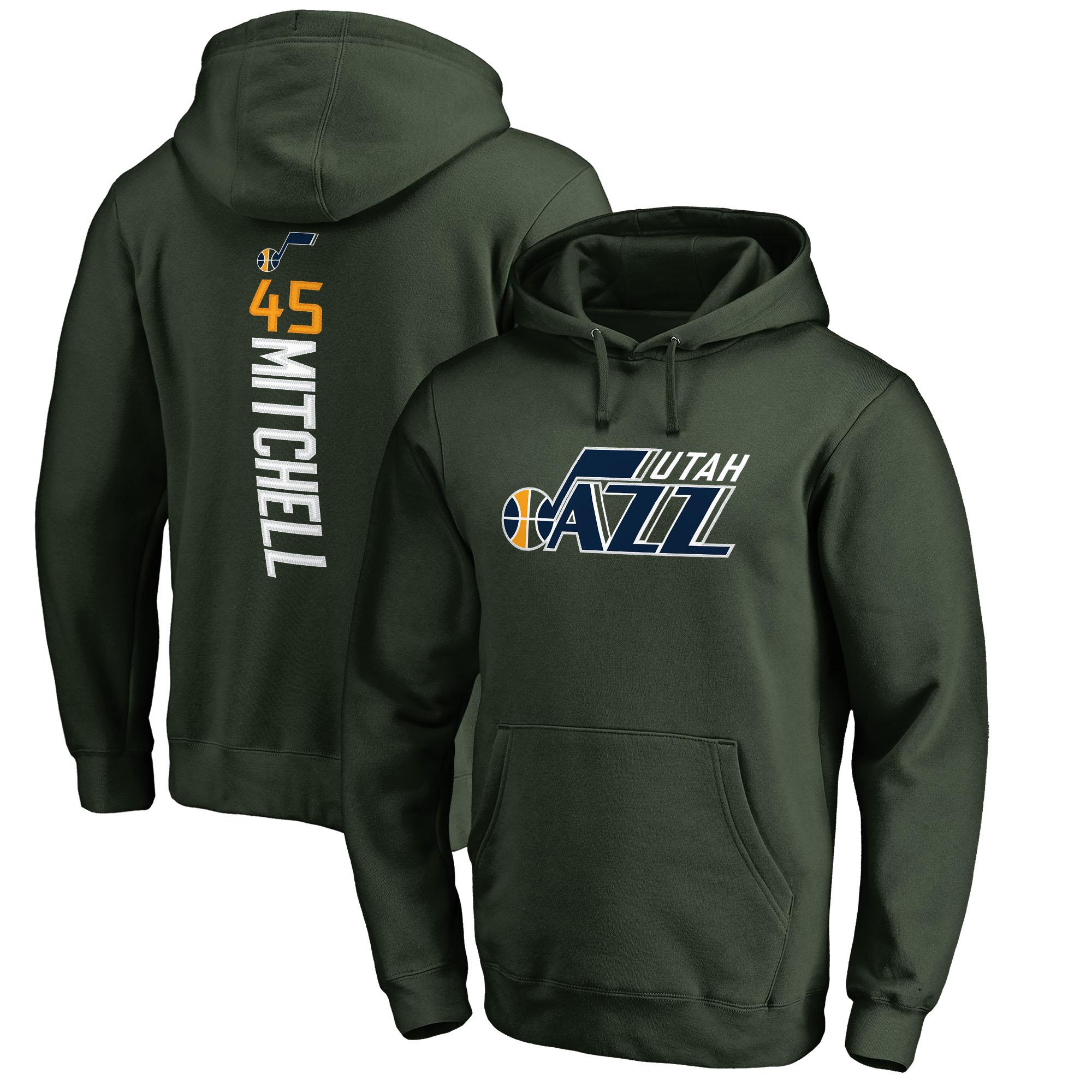 Donovan Mitchell Utah Jazz Fanatics Branded Team Backer Name & Number Pullover Hoodie - Green