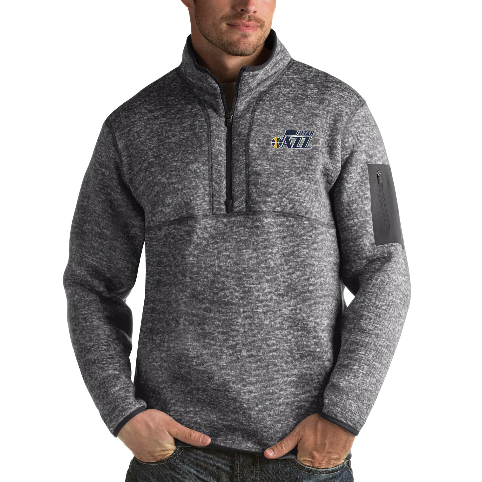 Utah Jazz Antigua Fortune Big & Tall Quarter-Zip Pullover Jacket - Charcoal