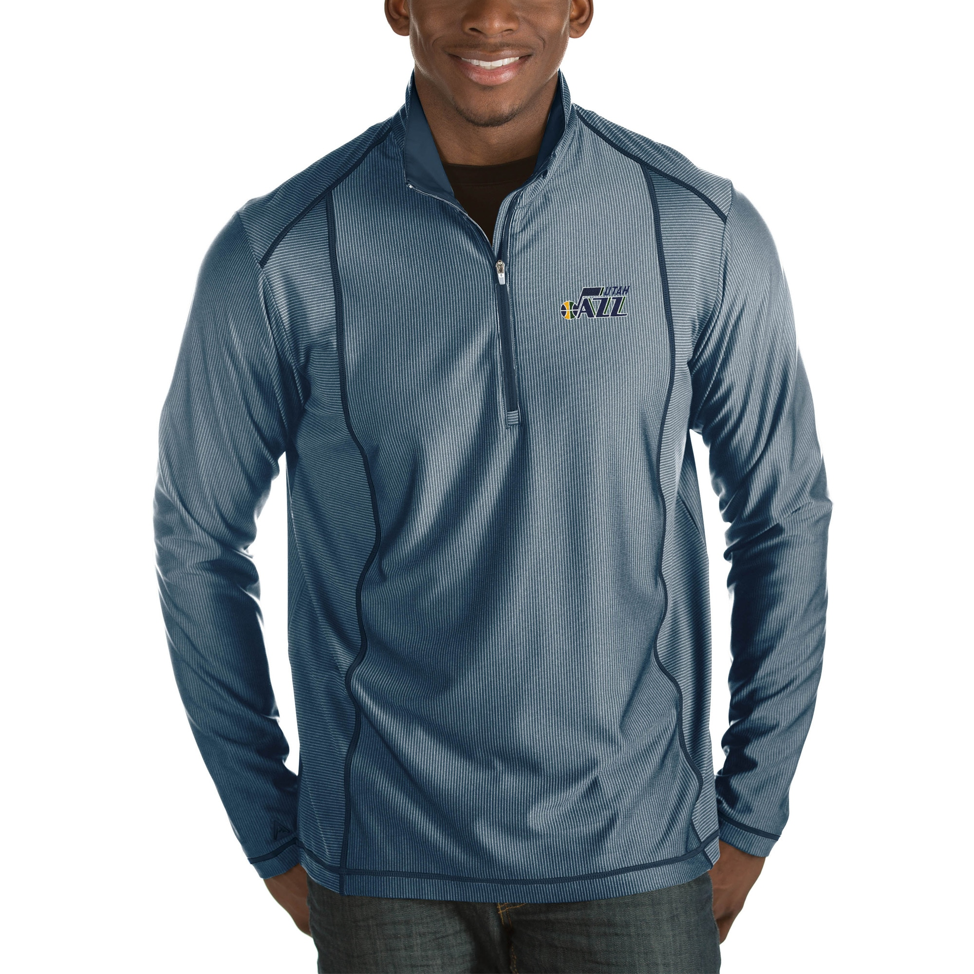 Utah Jazz Antigua Tempo Big & Tall Half-Zip Pullover Jacket - Navy