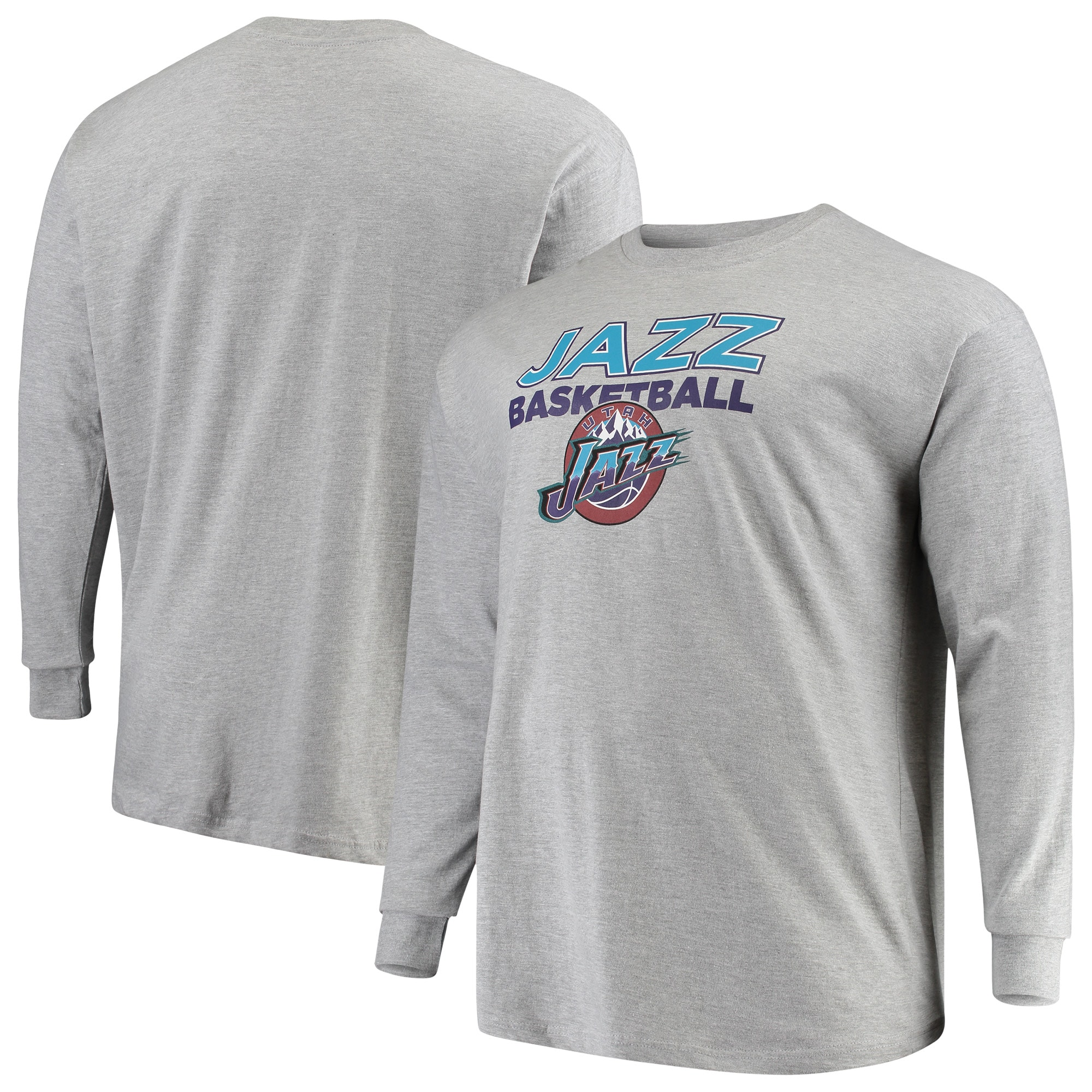Utah Jazz Mitchell & Ness Hometown Classics Big & Tall Thowback Logo Long Sleeve T-Shirt - Heathered Gray