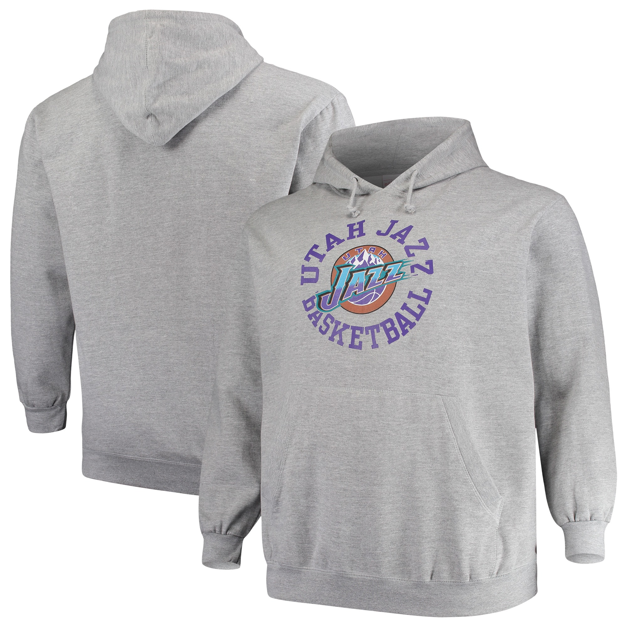Utah Jazz Mitchell & Ness Big & Tall Throwback Logo Pullover Hoodie - Heathered Gray