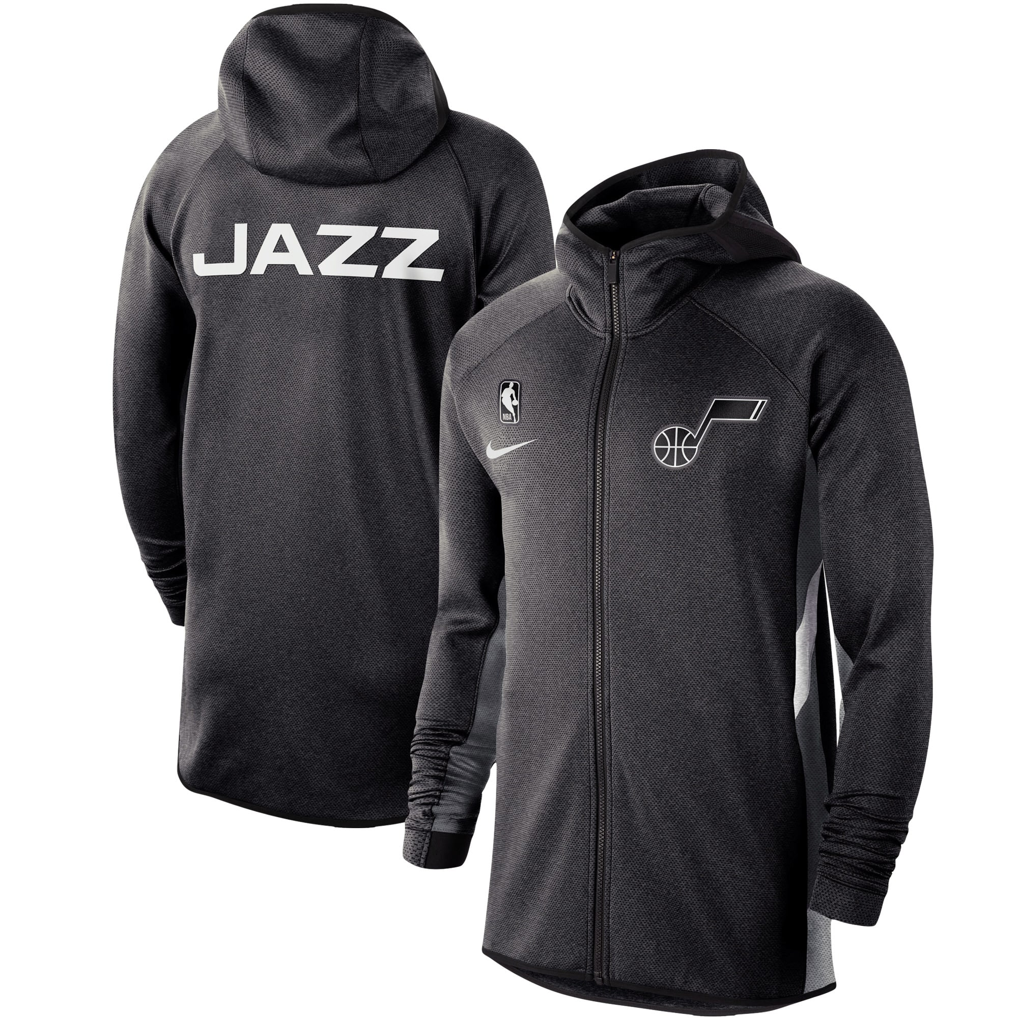 Utah Jazz Nike Authentic Showtime Therma Flex Performance Full-Zip Hoodie - Heather Black