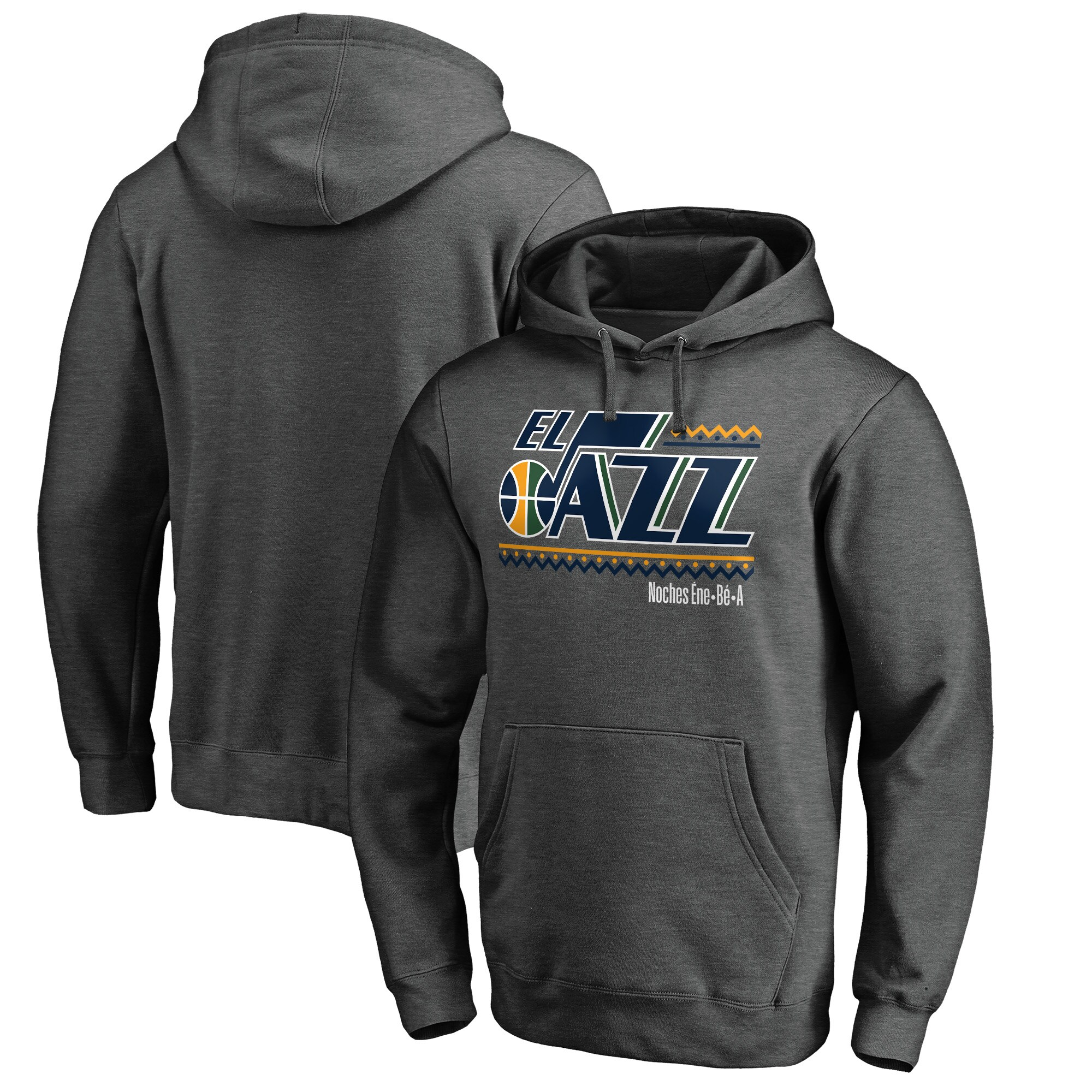 Utah Jazz Fanatics Branded Noches Ene-Be-A Pullover Hoodie - Heather Gray