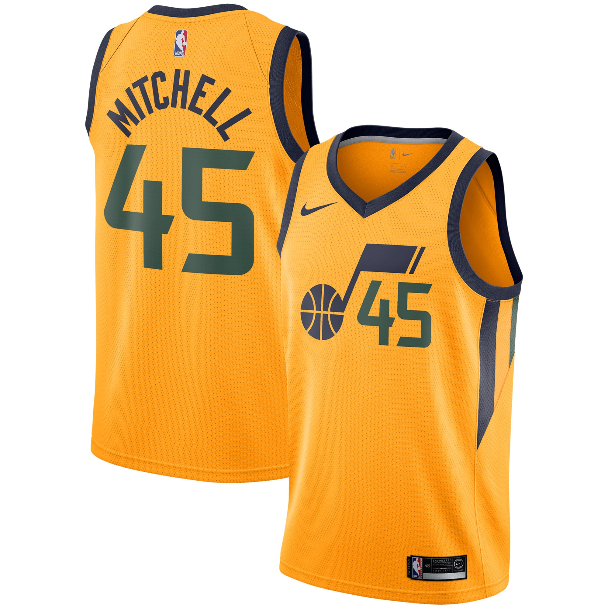 Donovan Mitchell Utah Jazz Nike Replica Swingman Jersey - Statement Edition - Gold