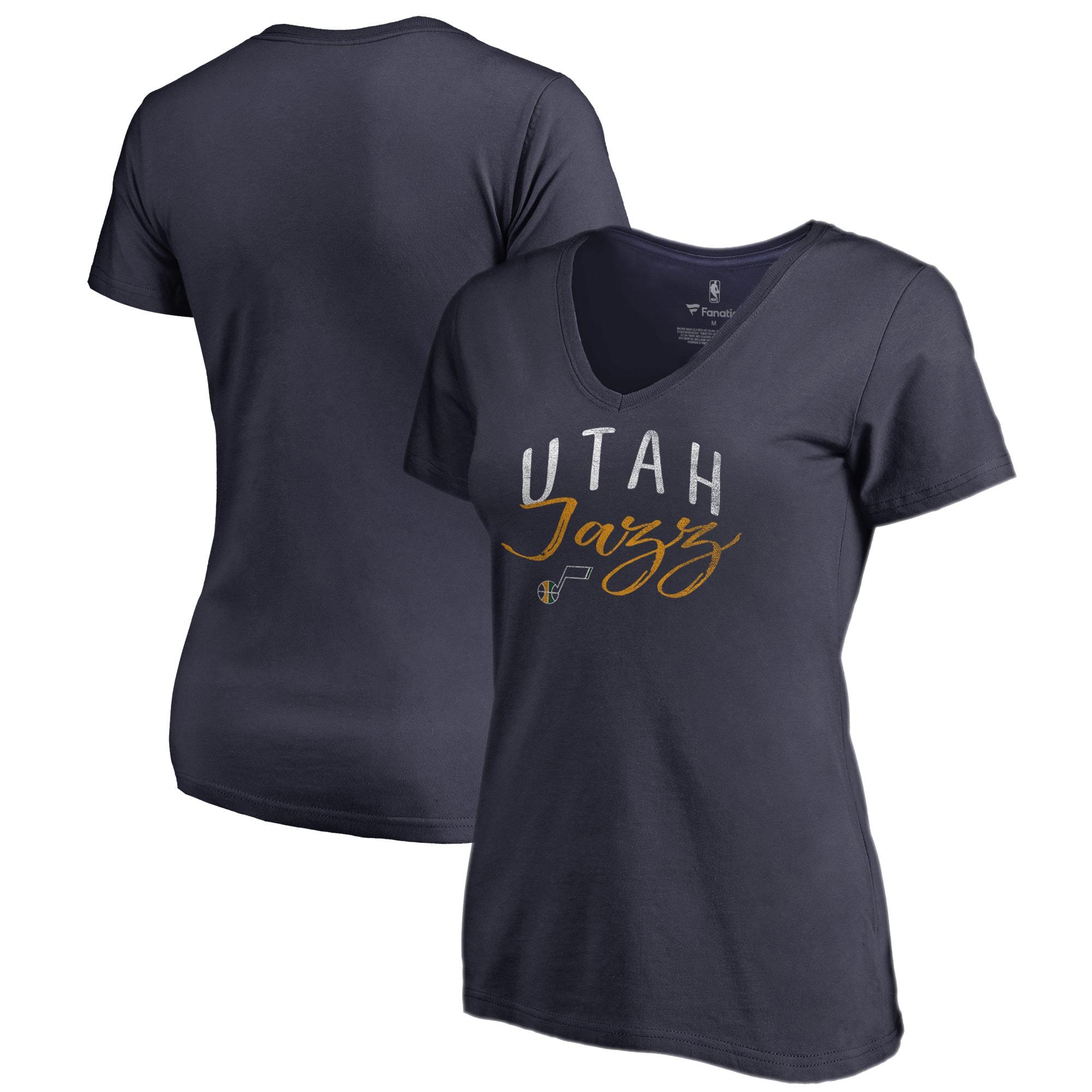 Utah Jazz Fanatics Branded Women's Graceful V-Neck Plus Size T-Shirt - Navy