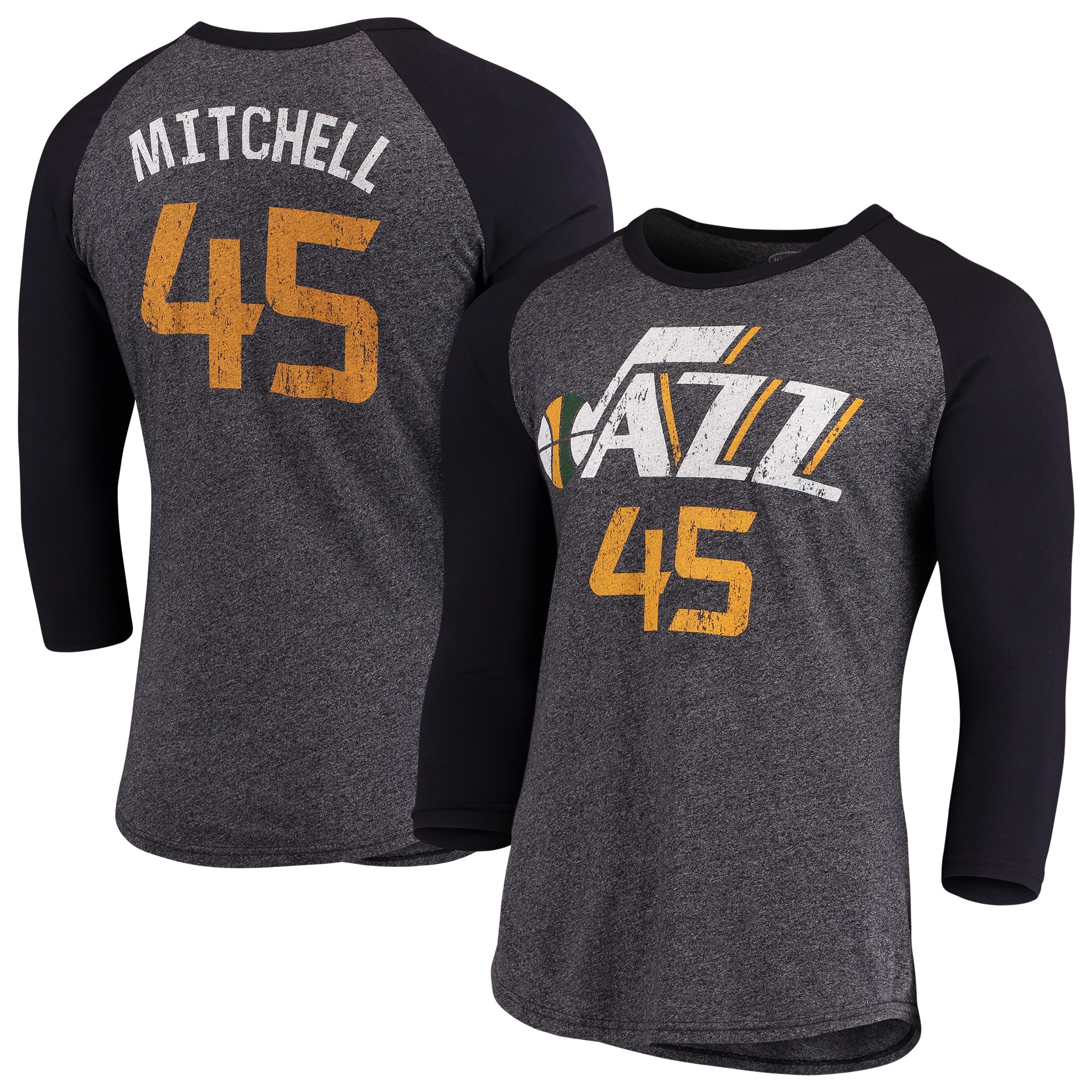 Donovan Mitchell Utah Jazz Majestic Threads Name & Number Tri-Blend Raglan 3/4-Sleeve T-Shirt - Navy